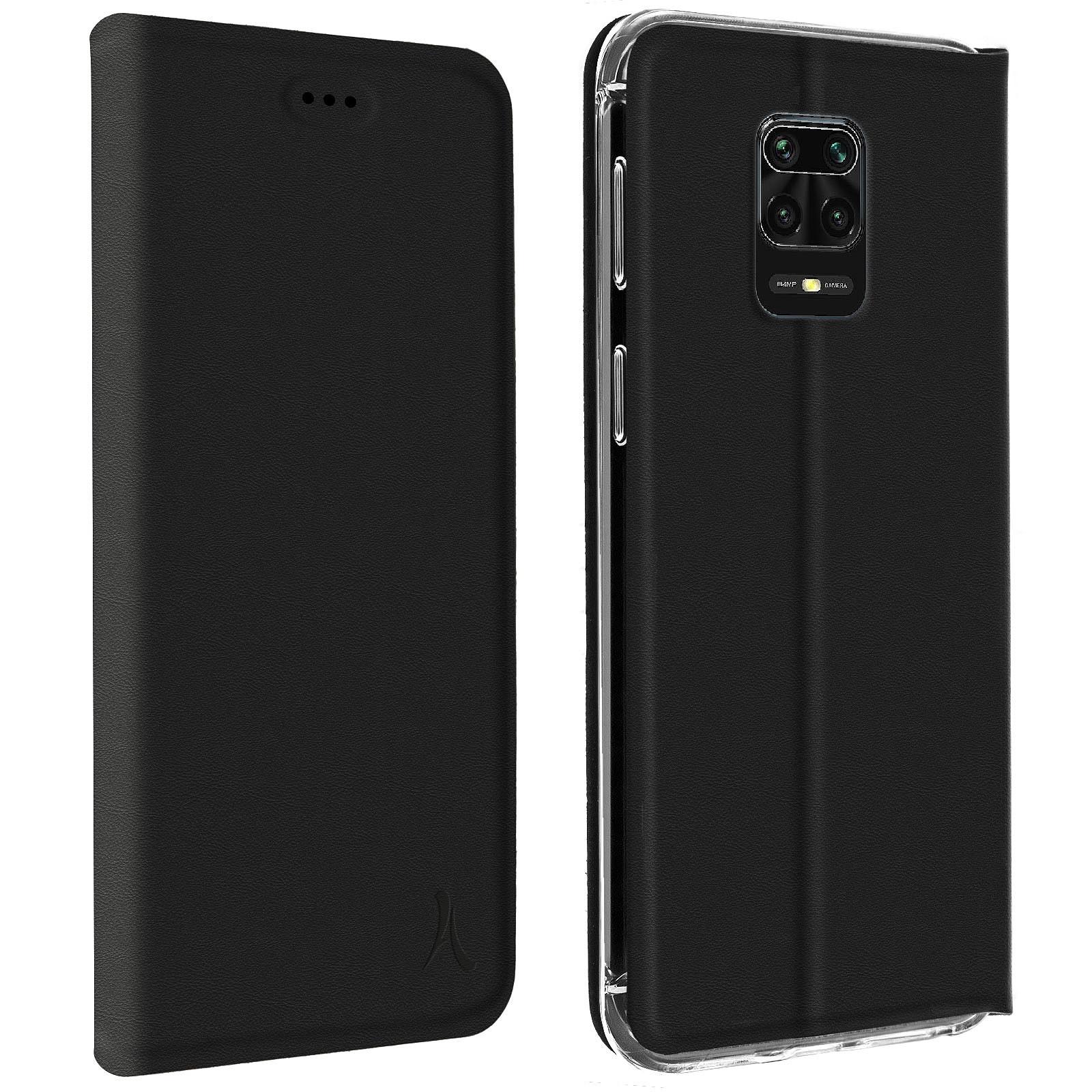 Akashi Etui Folio Porte Carte Noir Xiaomi Redmi Note 9 Pro