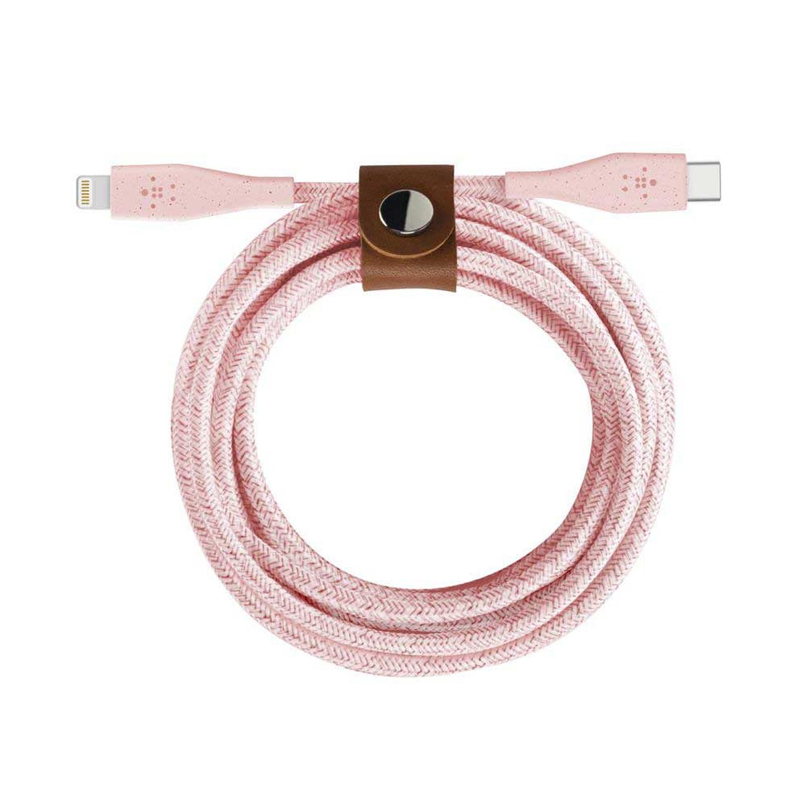 Belkin USB-C Boost Charge DuraTek avec connecteur Lightning et sangle de fermeture (Rose) - 1.2 m