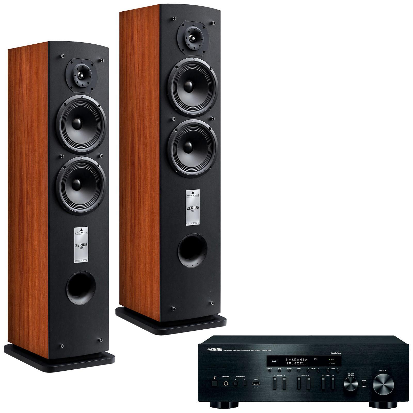 Yamaha MusicCast R-N402D Noir + Triangle Zerius 902 Cognac