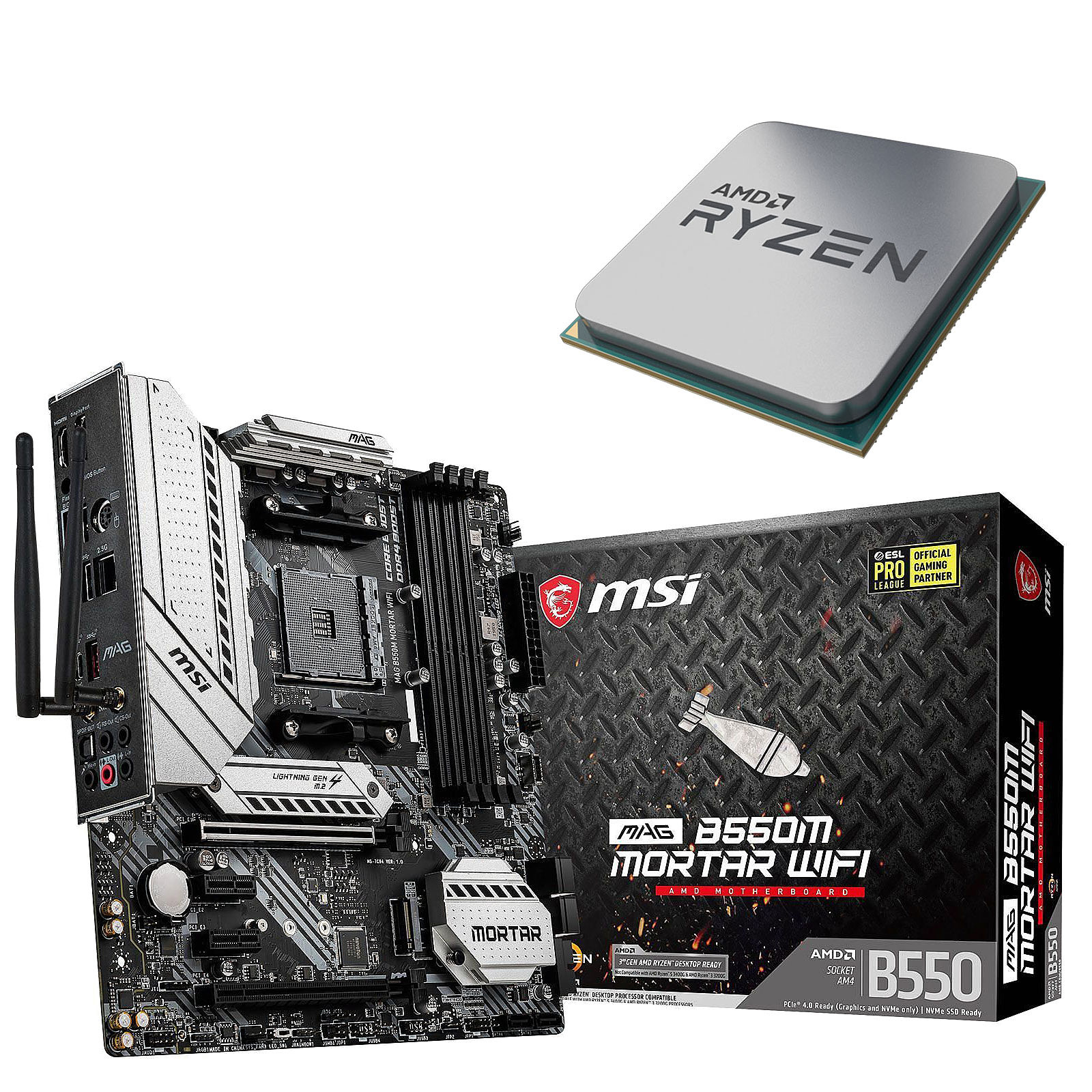 Kit Upgrade PC AMD Ryzen 7 3800X MSI MAG B550M MORTAR WIFI
