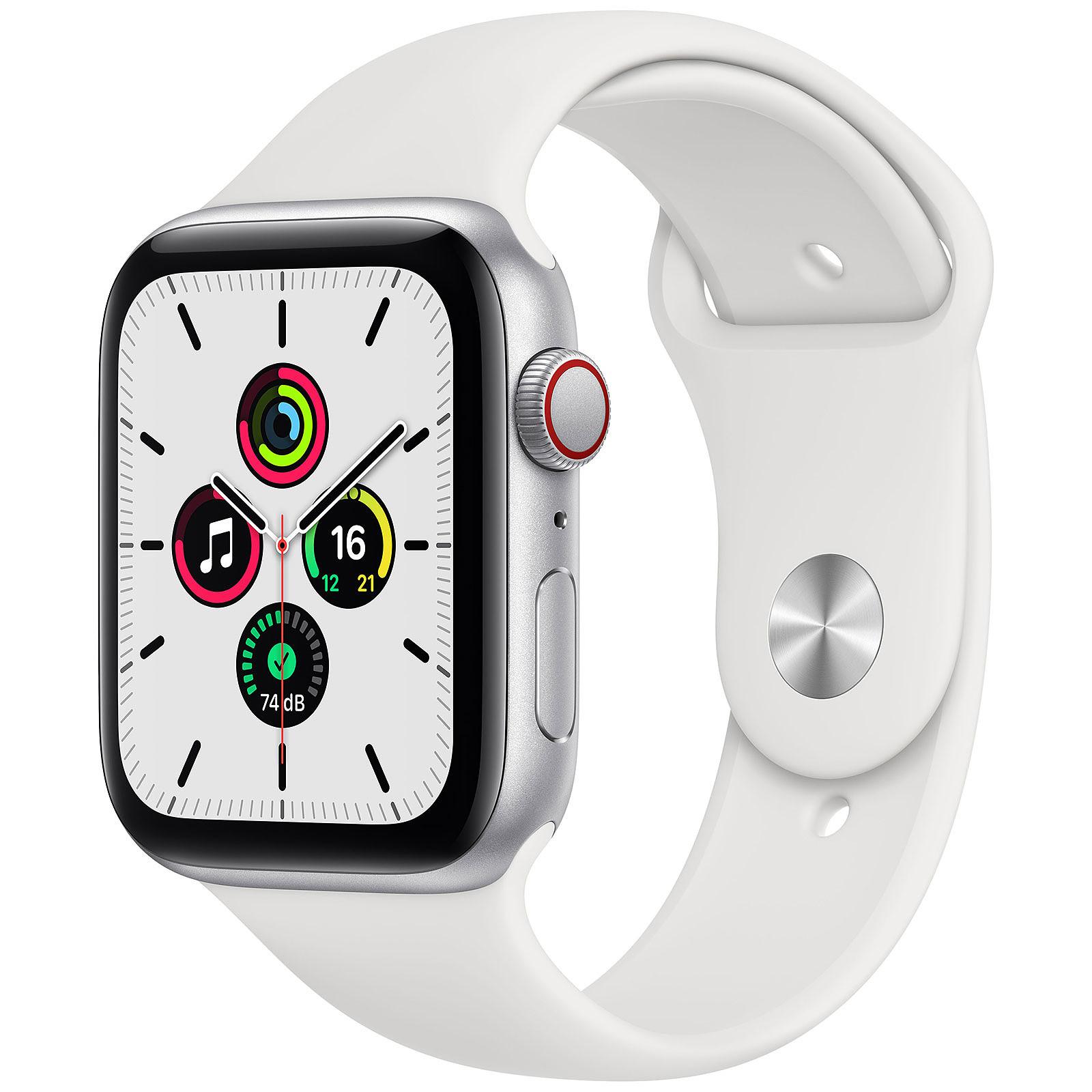 Apple Watch SE GPS + Cellular Silver Aluminium Bracelet Sport White 44 mm