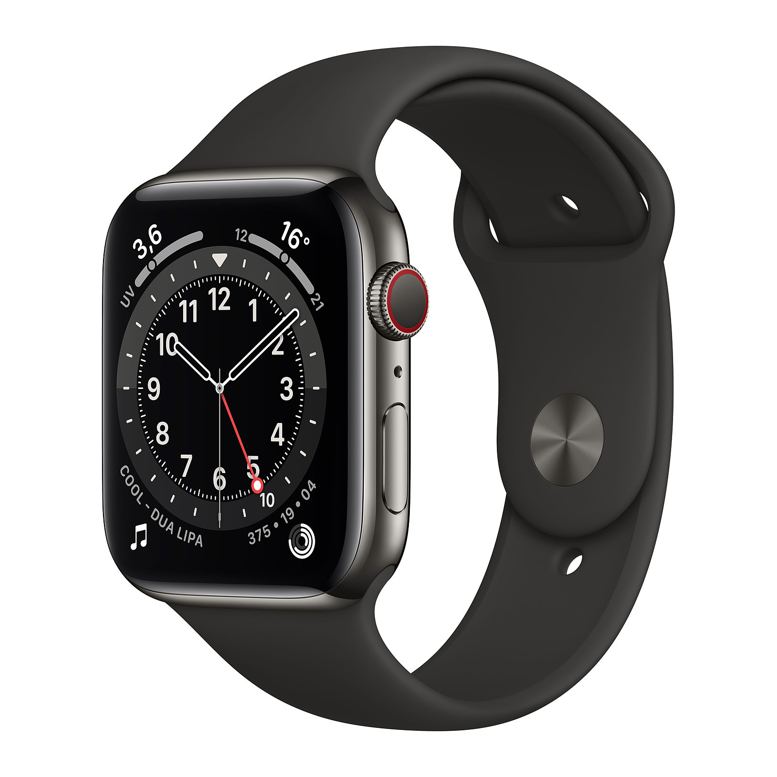 Apple Watch Series 6 GPS + Cellular Stainless steel Graphite Bracelet Sport Black 44 mm