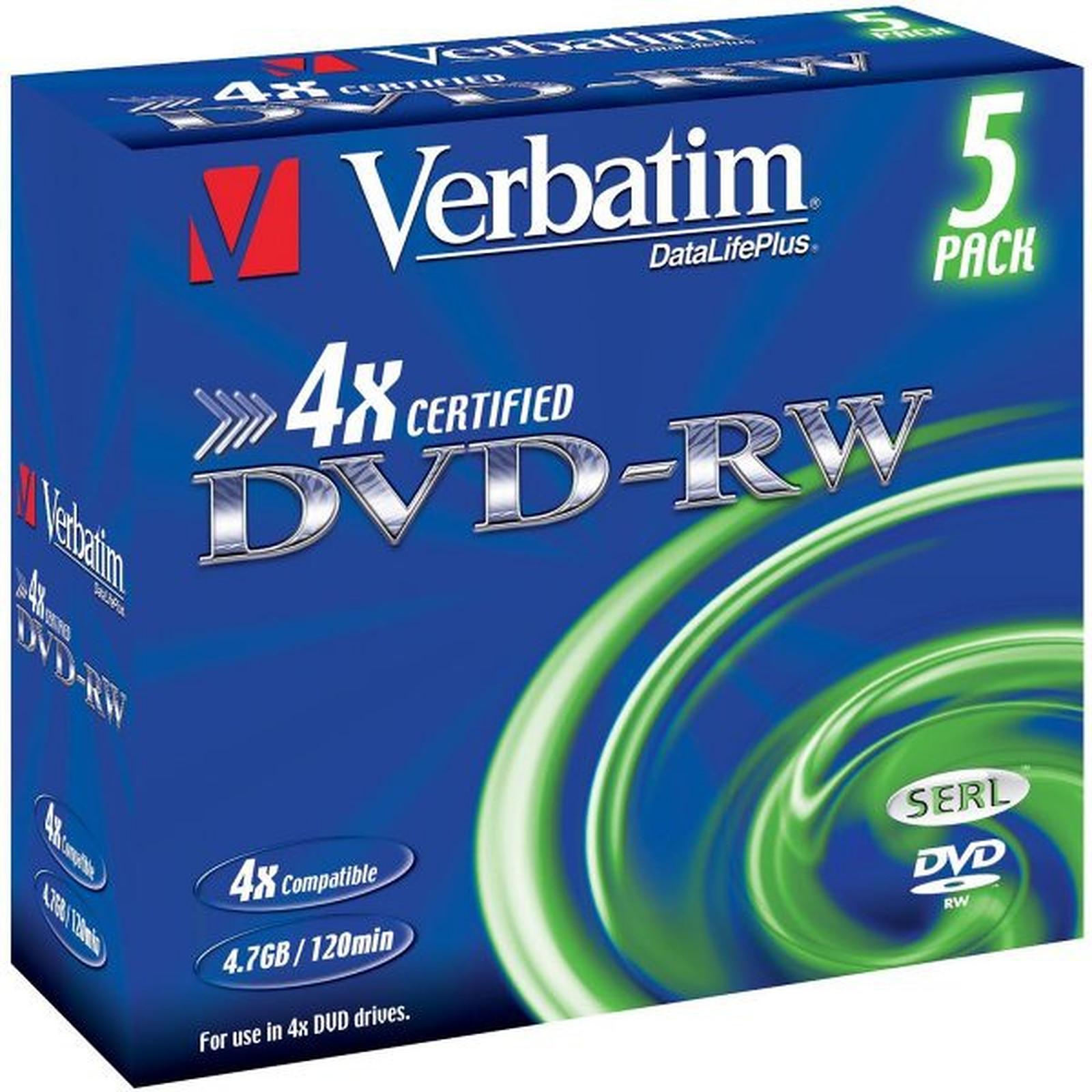 Verbatim DVD-RW 4.7 Go 4x (par 5, boite)