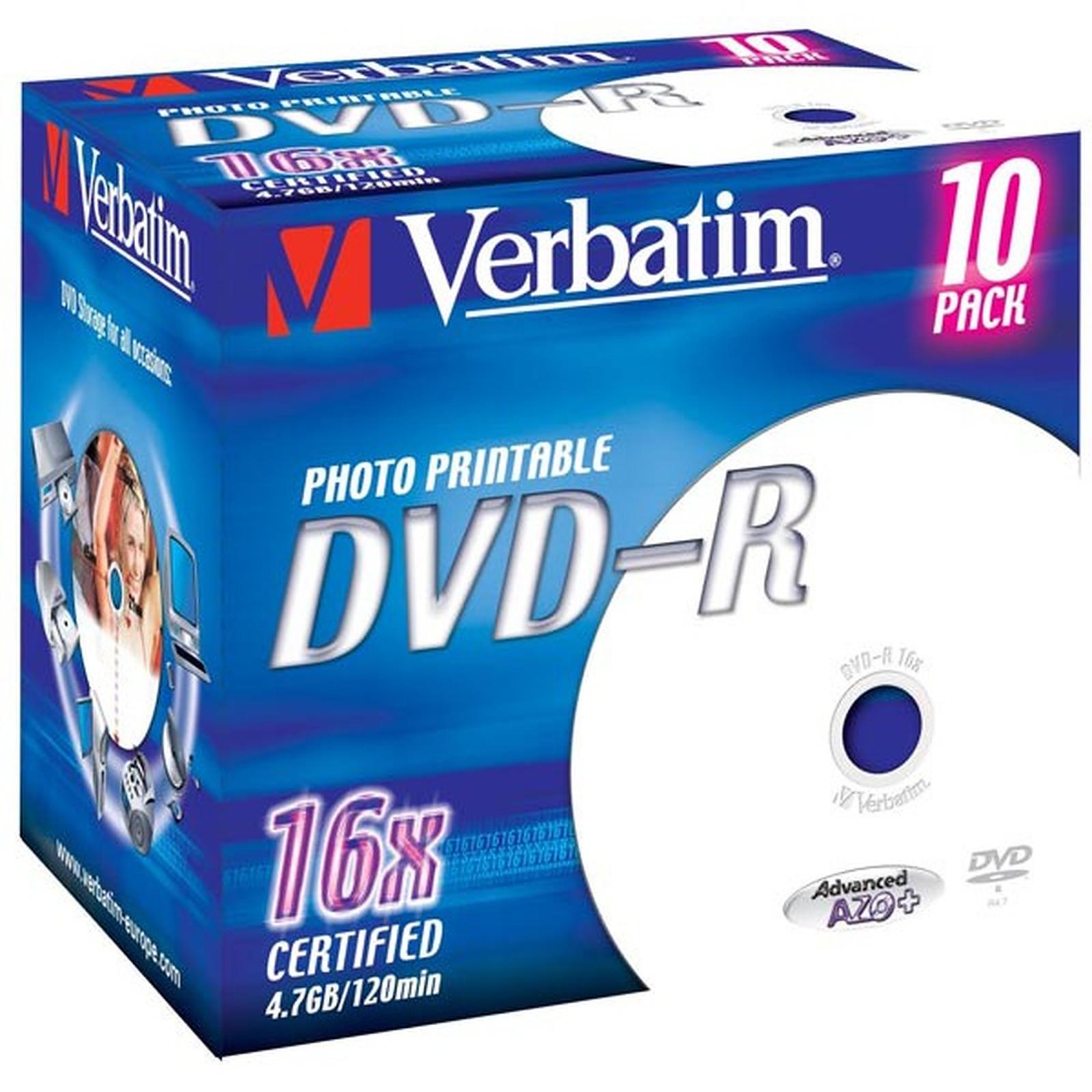 Verbatim DVD-R 4.7 Go 16x imprimable (par 10, boite)