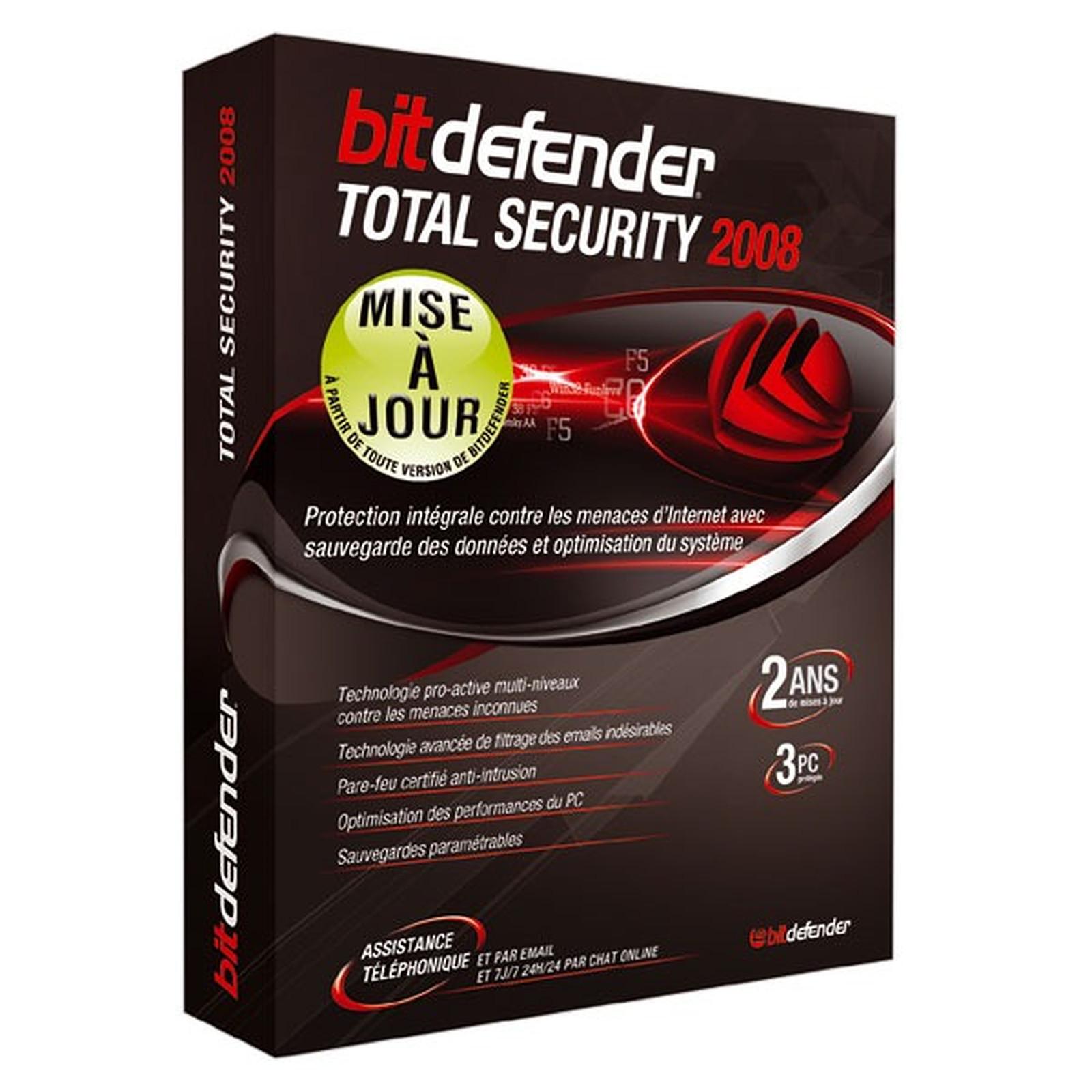BitDefender Total Security 2008 - Mise à jour - Licence 2 ans 3 postes (français, WINDOWS)