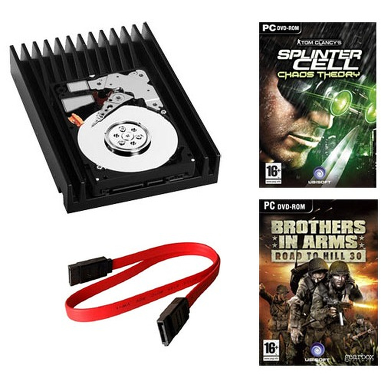Western Digital VelociRaptor 150 Go 10000 RPM 16 Mo Serial ATA II - WD1500HLFS (bulk) + Câble SATA (45 cm) + Jeux Splinter Cell : Chaos Theory & Brothers in Arms