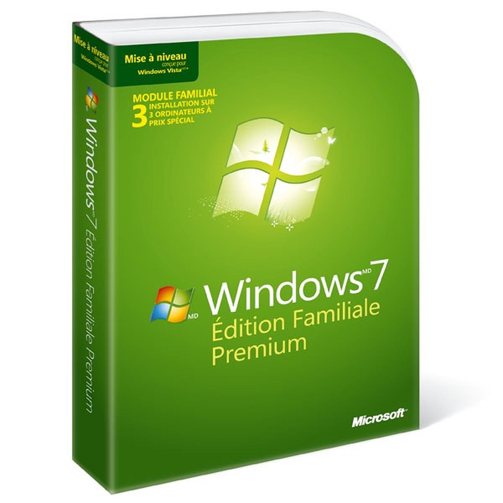 Microsoft Windows 7 Édition Familiale Premium - Mise à jour - Prix spécial 3 licences