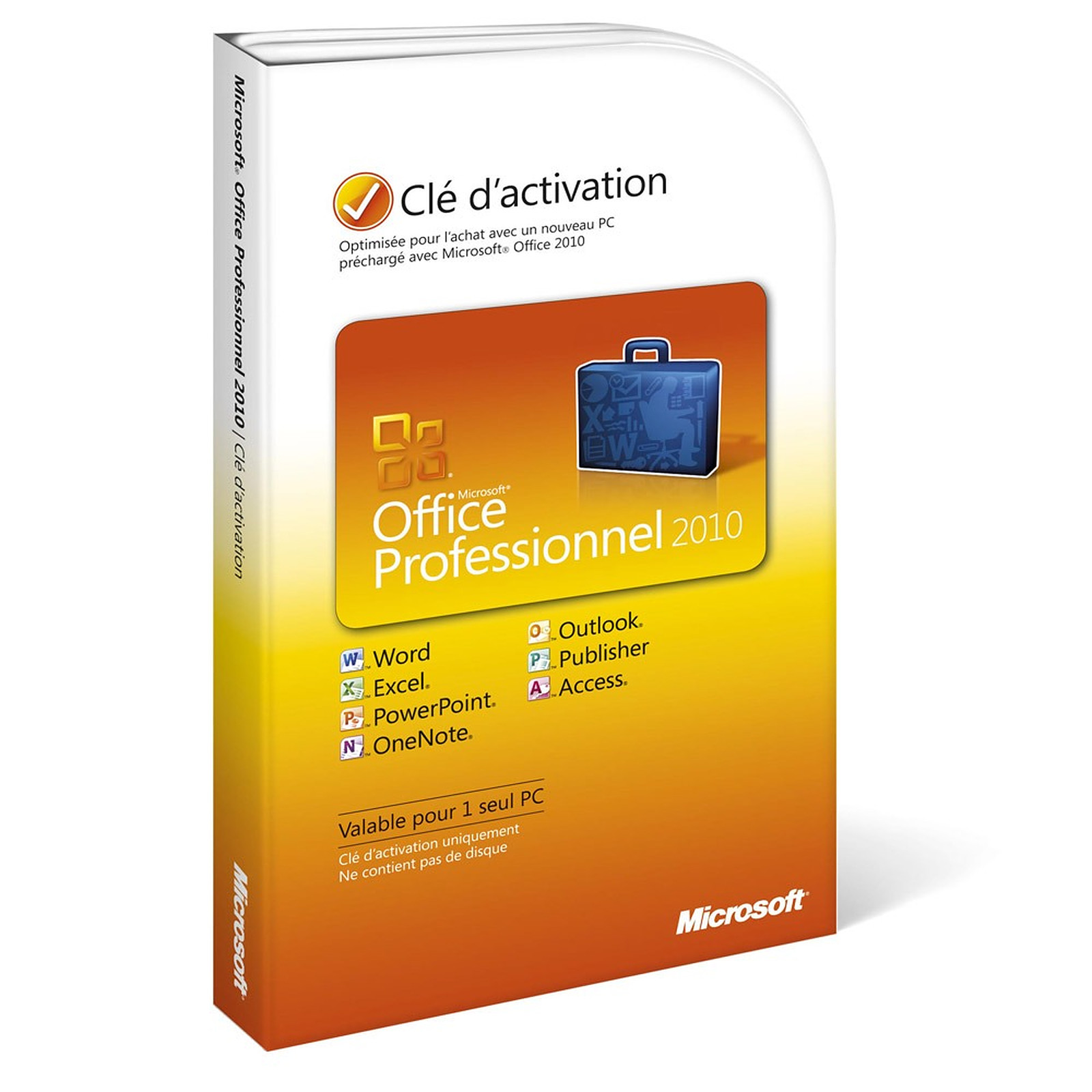 Microsoft Office Professionnel 2010 - 1 PC - Carte d'activation