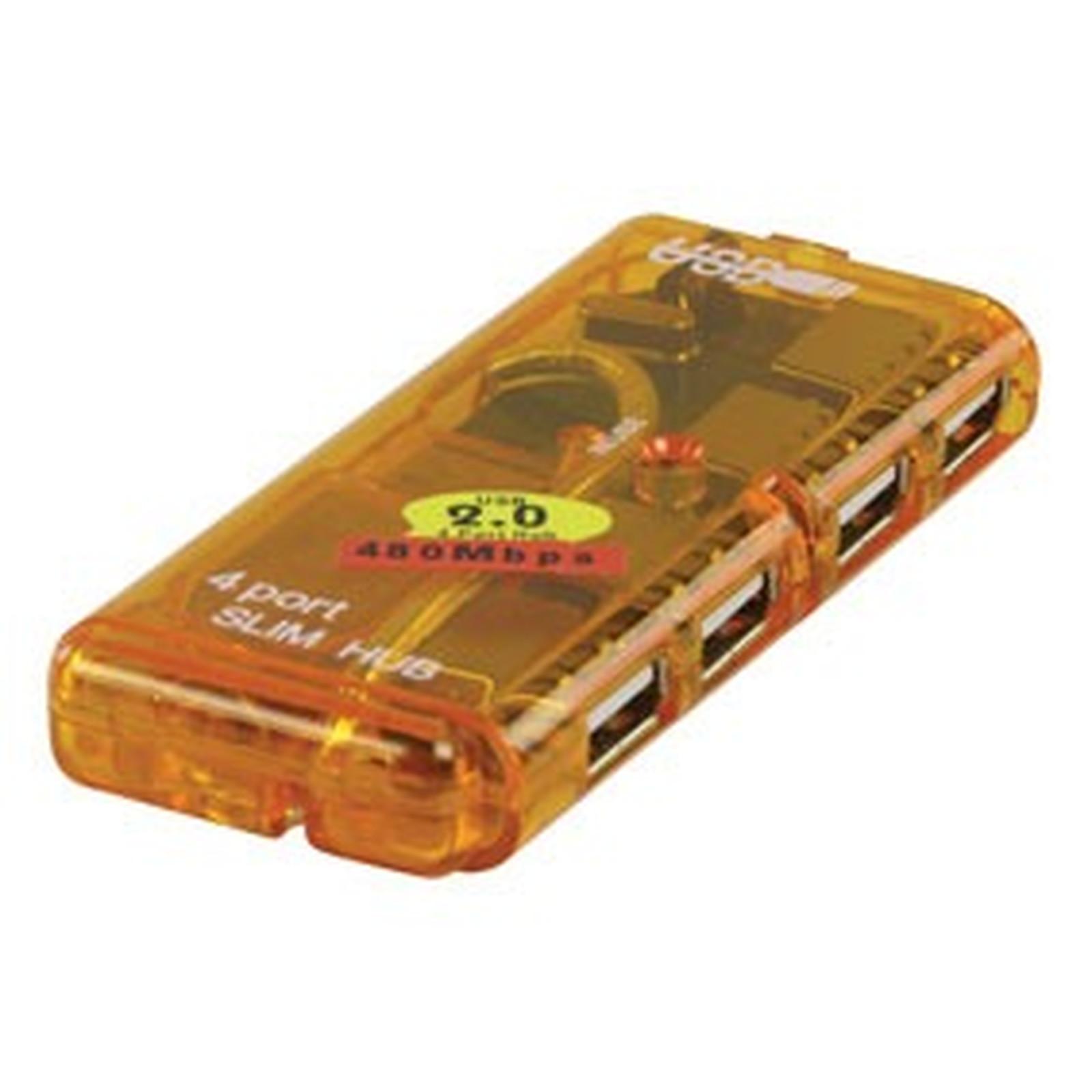 Hub USB 2.0 compact (4 ports) - (coloris jaune)