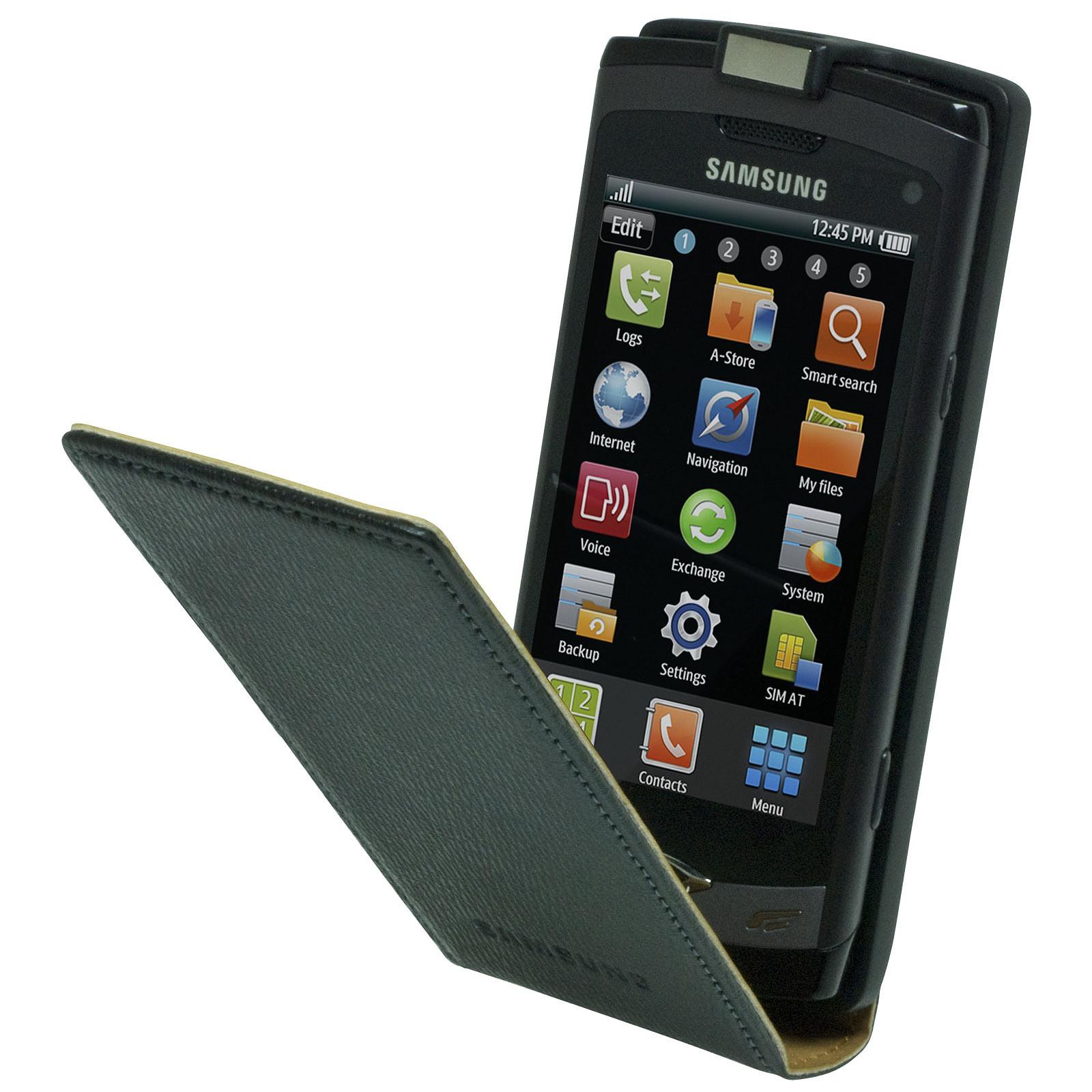 Samsung étui en cuir coloris noir (pour Samsung S8500 Wave)