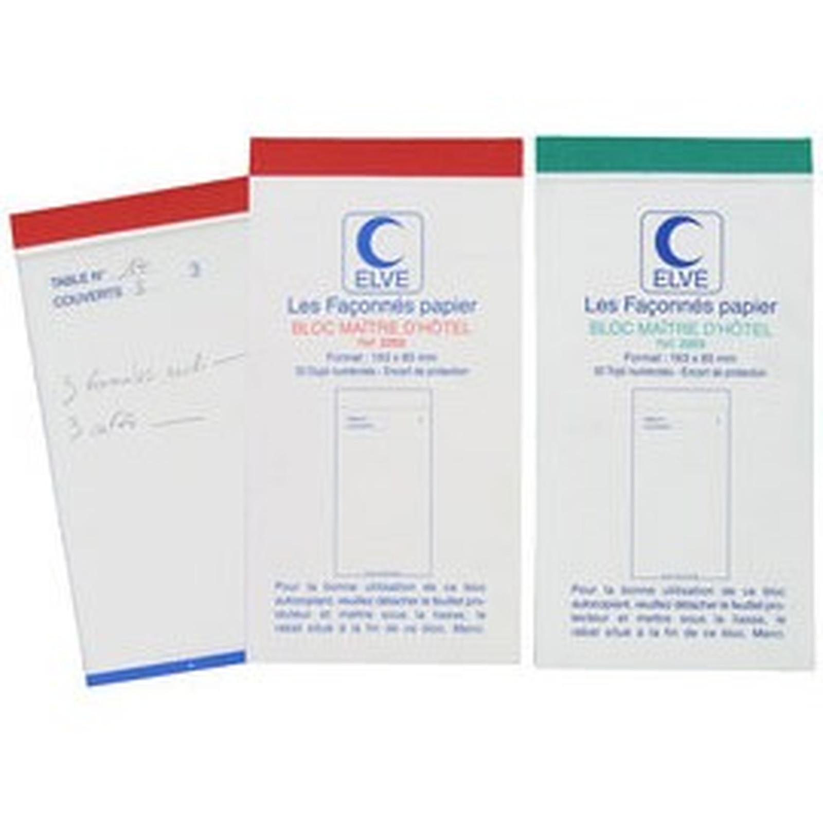 ELVE Carnet à souche imprimé 50 feuilles - Bloc maître d'hôtel
