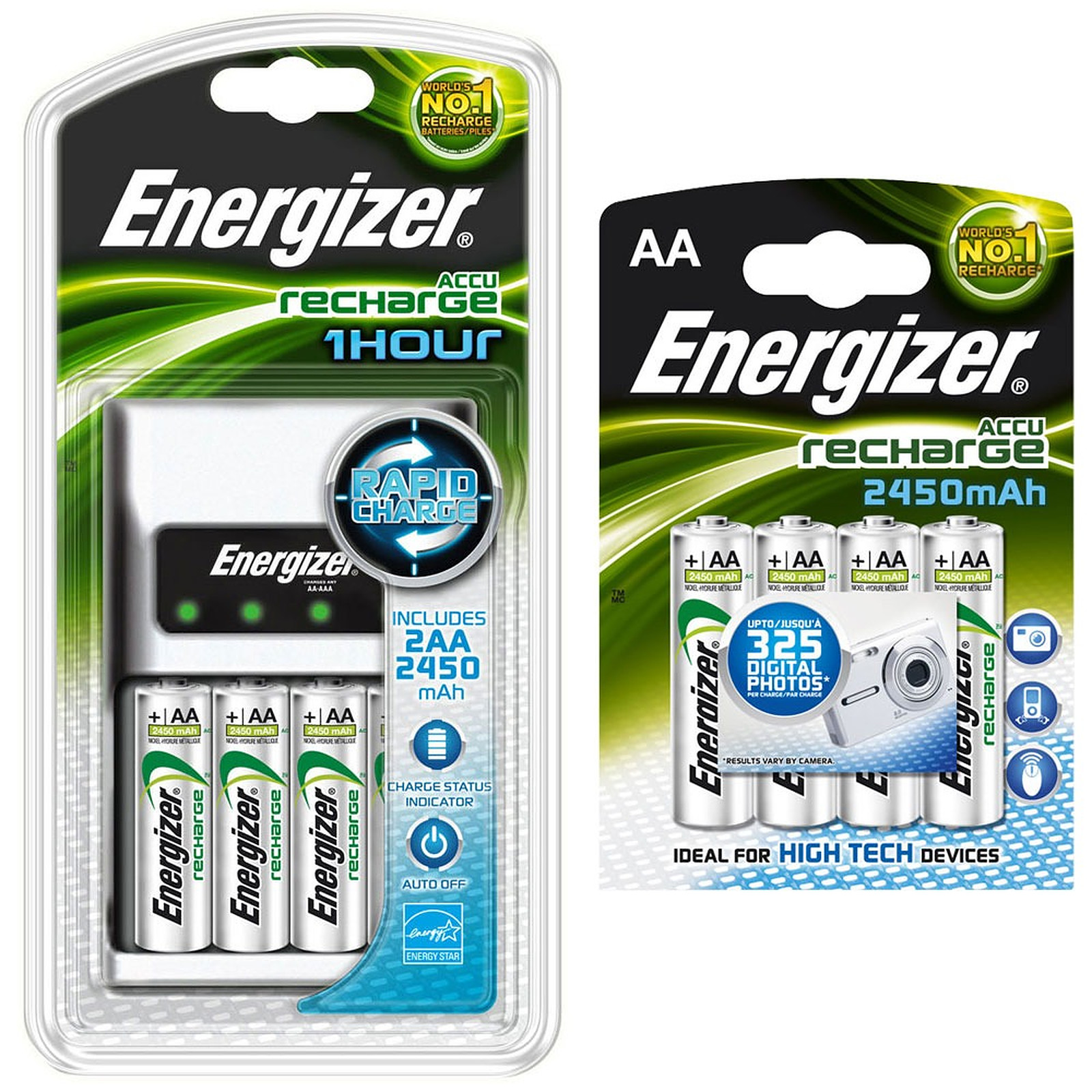 Energizer Chargeur 1 heure + 2x AA 2450 mAh + 4x AA 2450 mAh offertes !