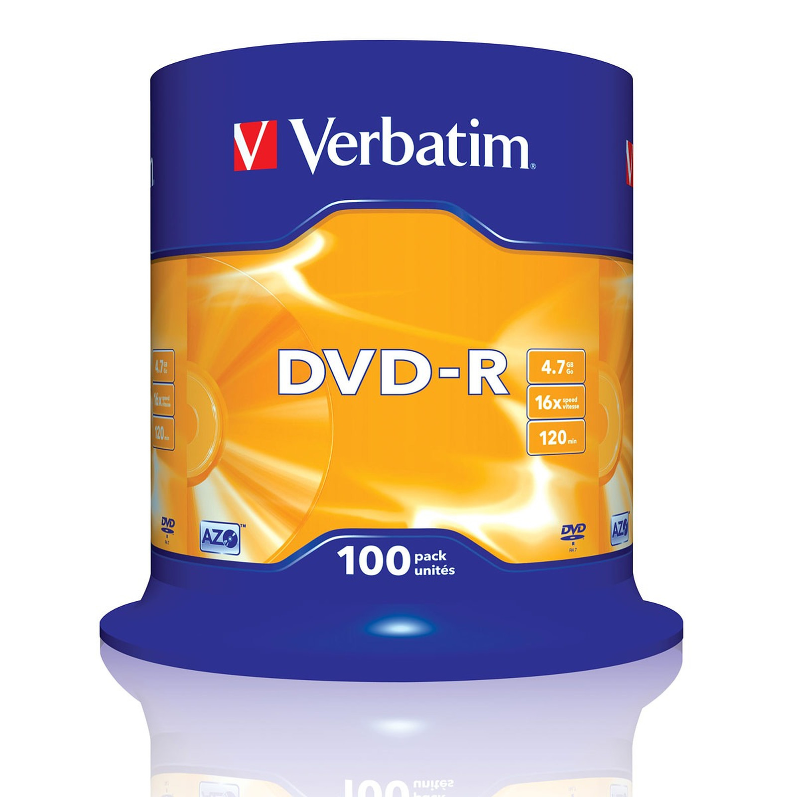 Verbatim DVD-R 4.7 GB certificado 16x (pack de 100, spindle)