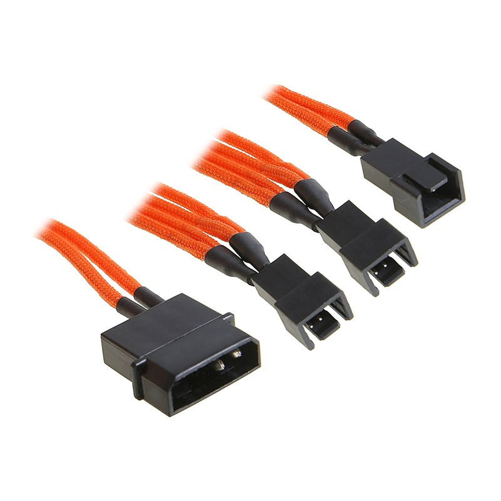 BitFenix Alchemy Orange - Câble d'alimentation gainé - Molex vers 3x 3 pins - 20 cm