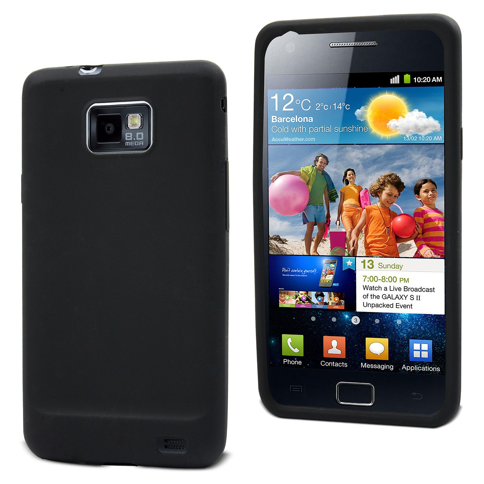Muvit Housse silicone Noir pour Samsung i9100 Galaxy S II