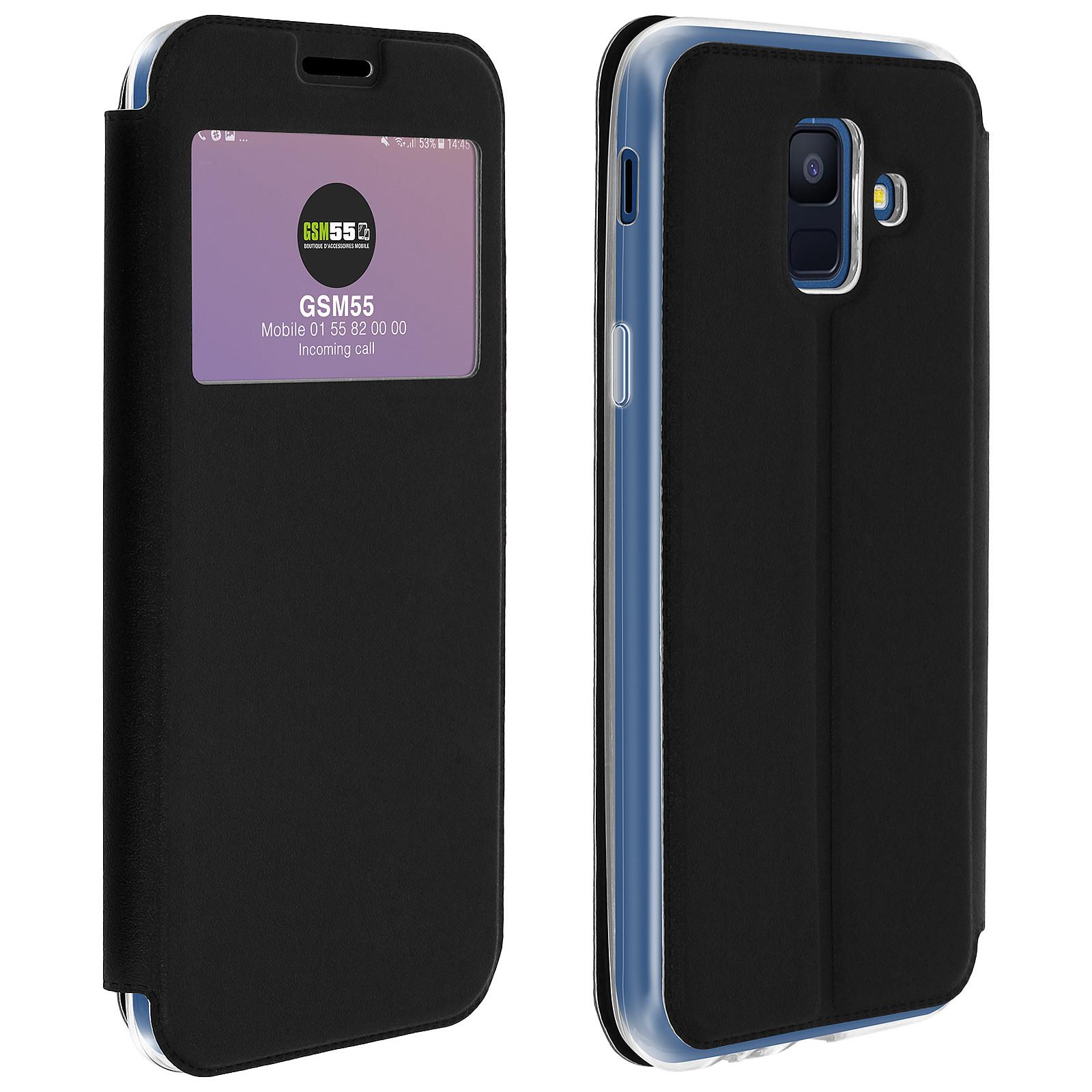Avizar Etui folio Noir à fenêtre pour Samsung Galaxy A6