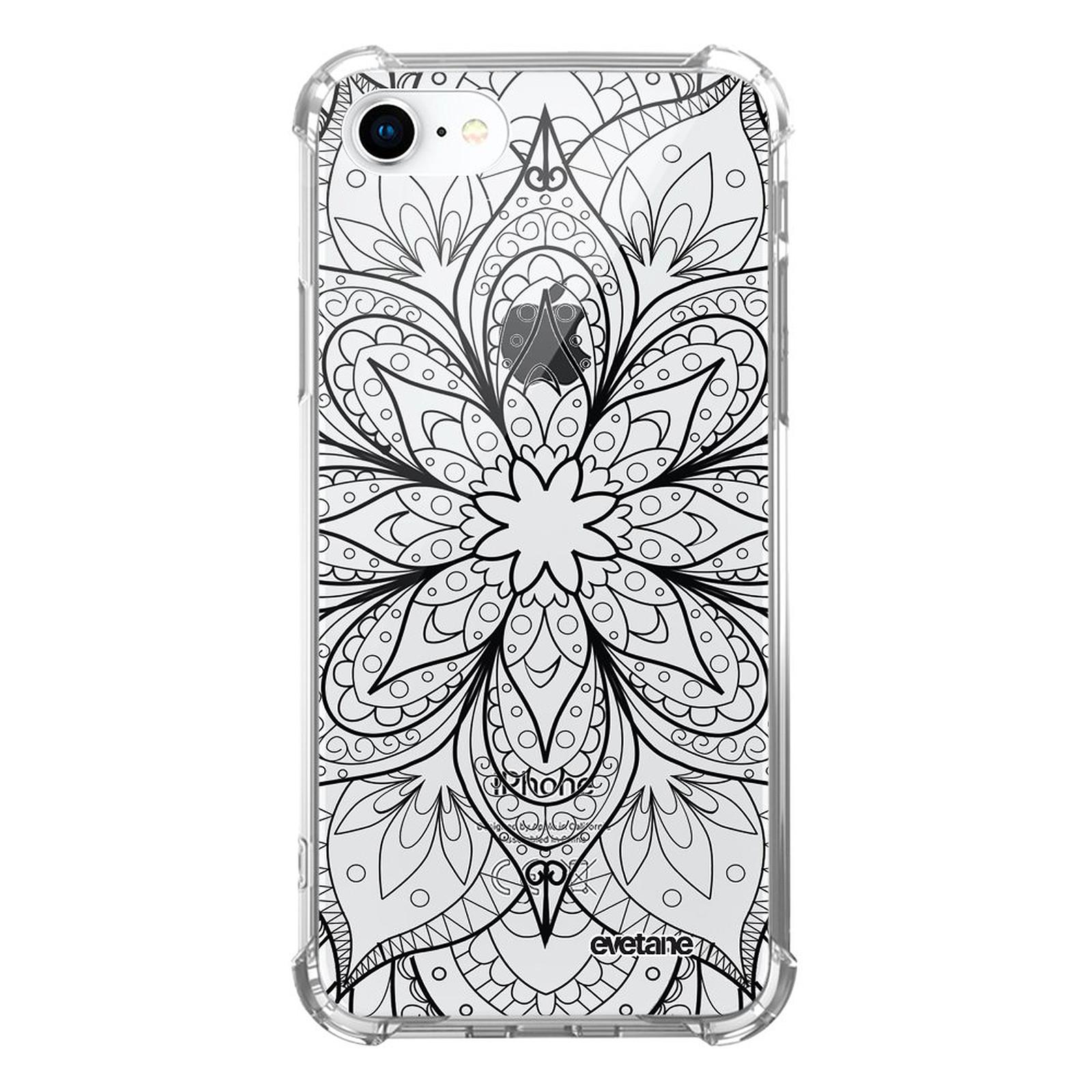 EVETANE Coque iPhone 7/8/ iPhone SE 2020 anti-choc souple angles renforcés transparente Mandala noir