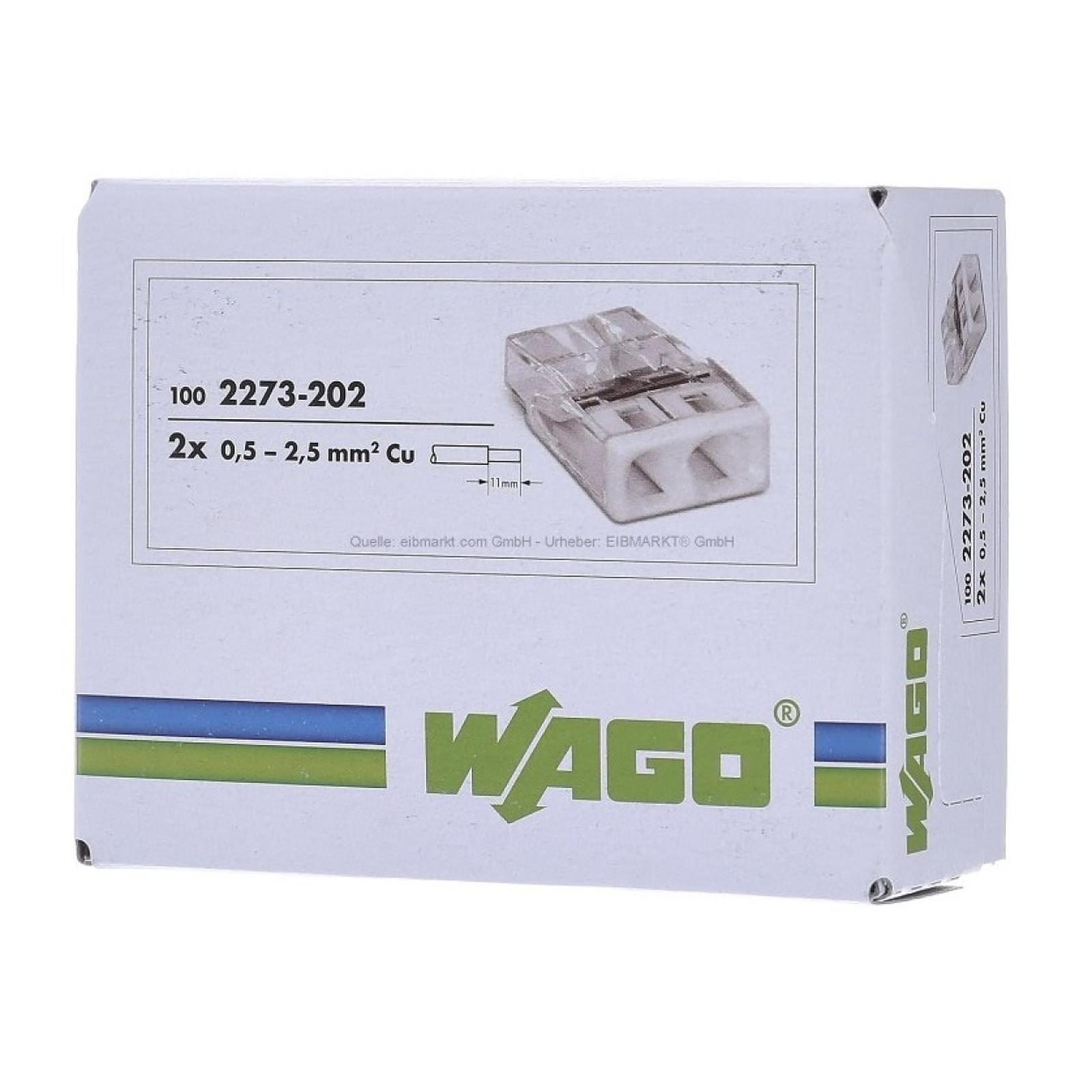Wago Lot De 100x Connexions Automatiques 2 Bornes WAG_2273202_LOT100