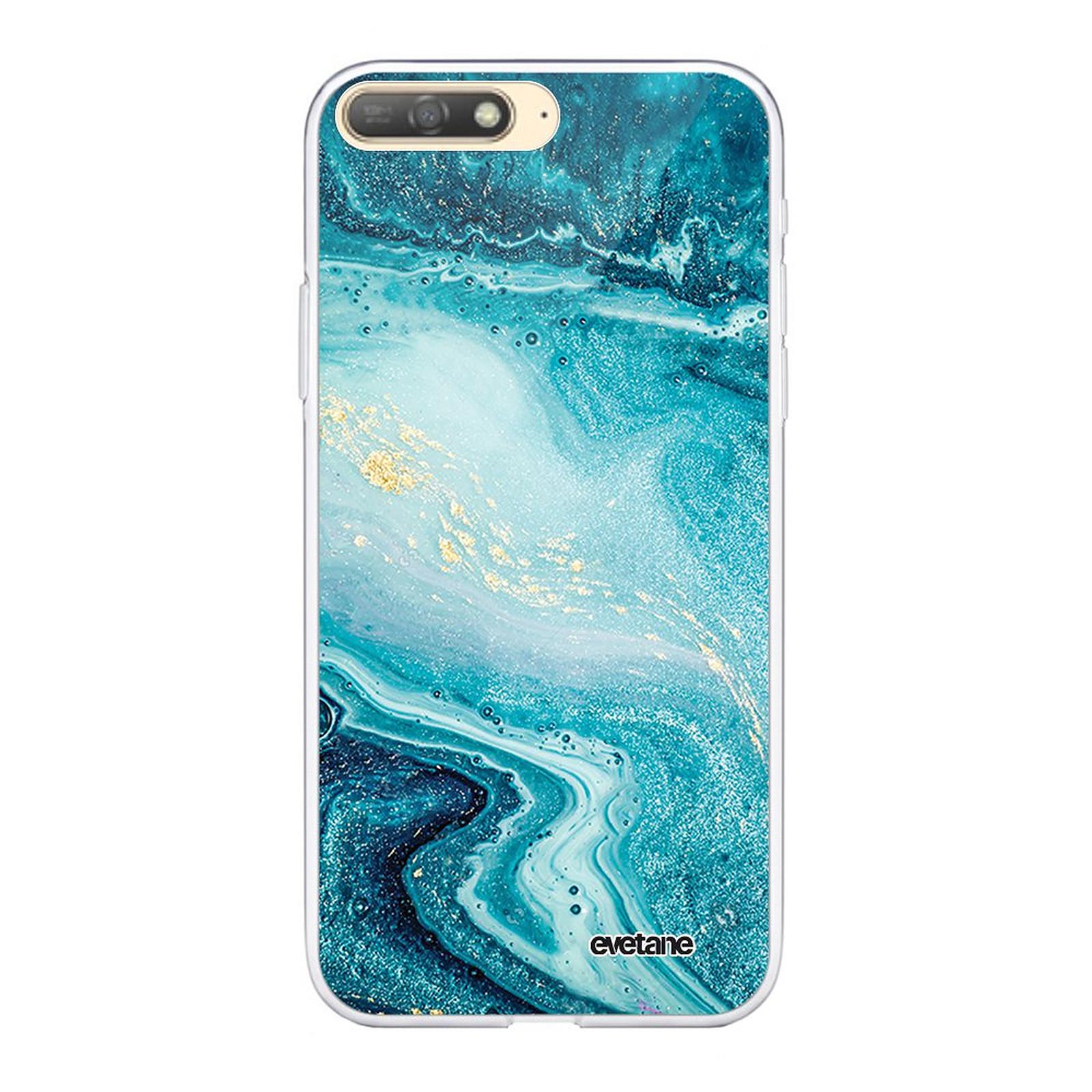 EVETANE Coque Huawei Y6 2018 souple transparente Bleu Nacré Marbre