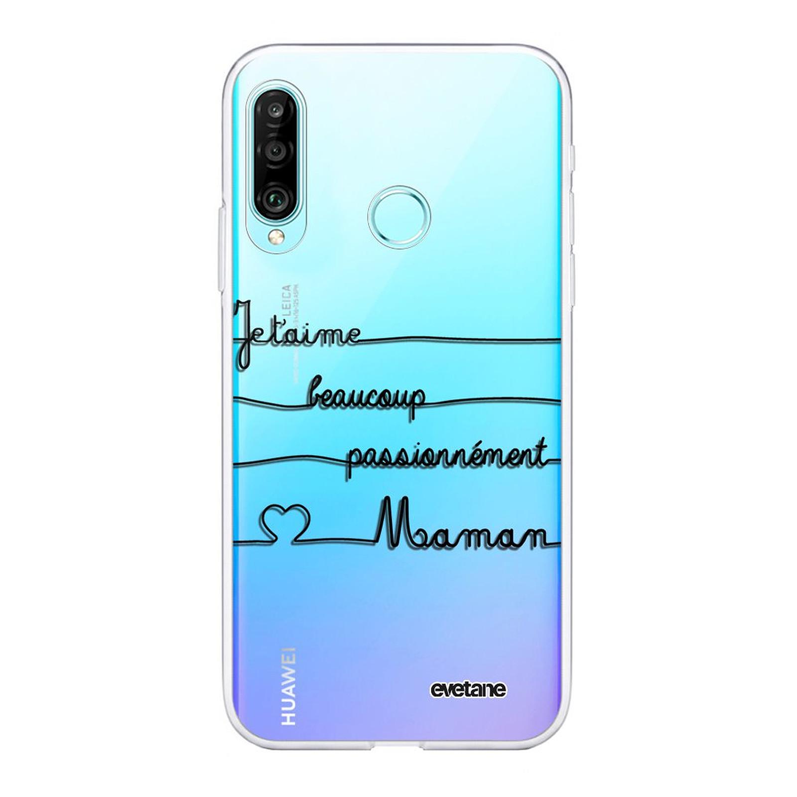 EVETANE Coque Huawei P30 Lite 360 intégrale transparente Maman un peu beaucoup Tendance