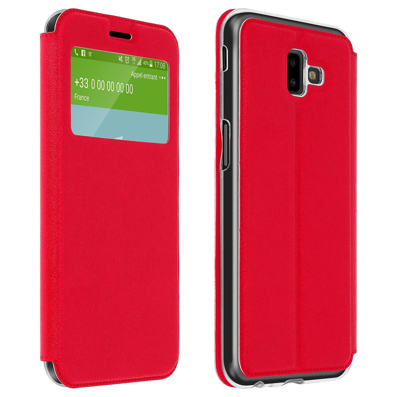 Avizar Etui folio Rouge à fenêtre pour Samsung Galaxy J6 Plus