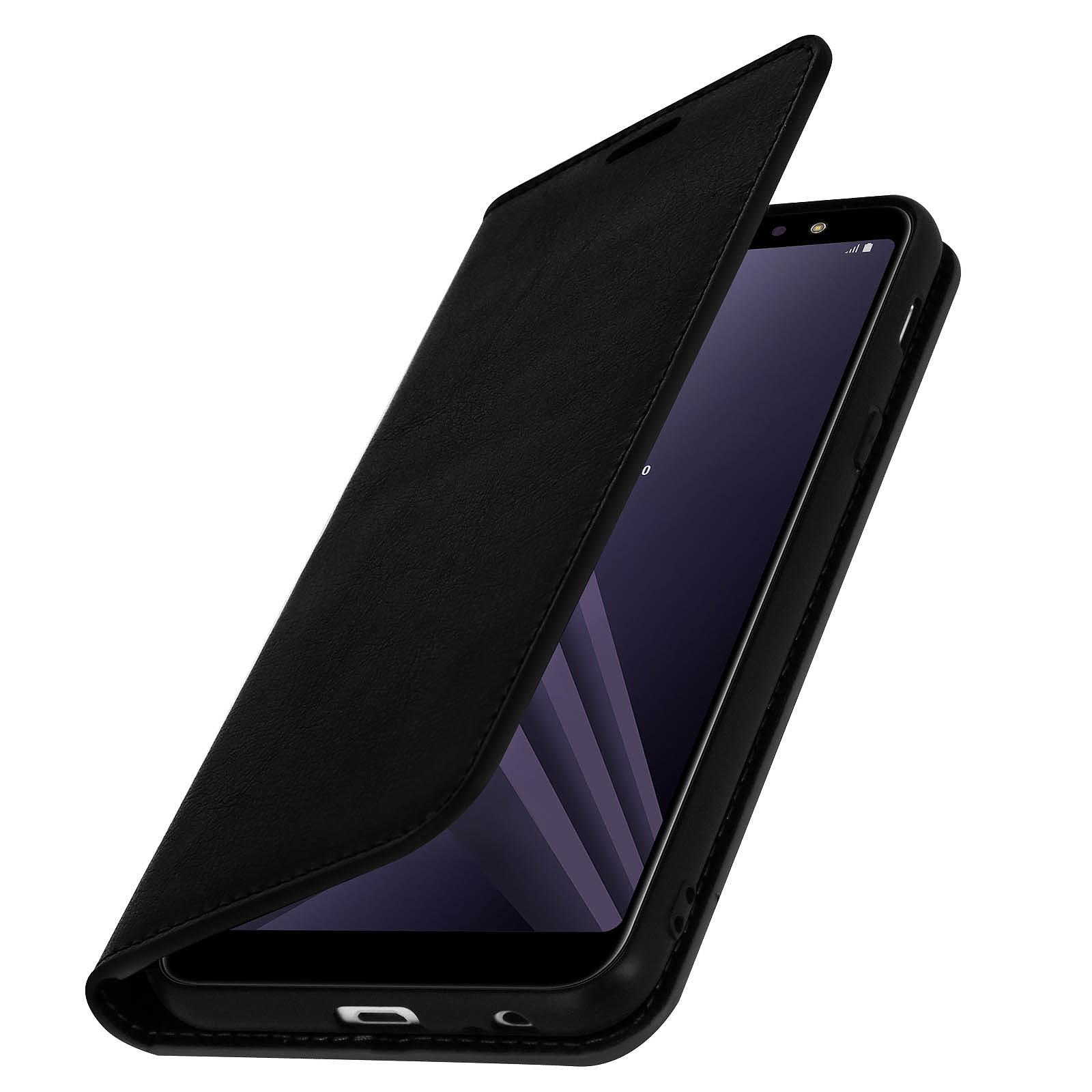 Avizar Etui folio Noir Cuir véritable pour Samsung Galaxy A6 Plus