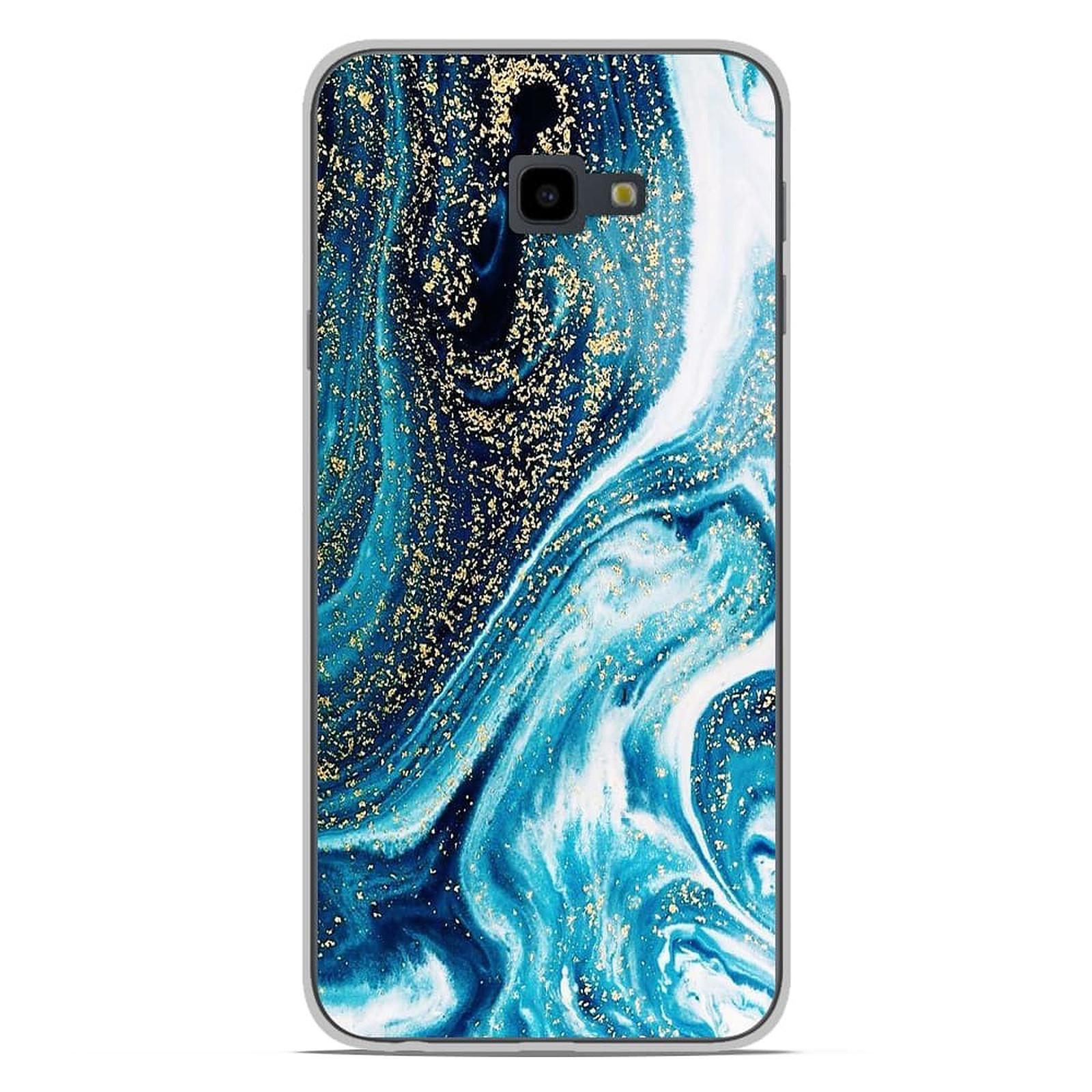1001 Coques Coque silicone gel Samsung Galaxy J4 Plus 2018 motif Marbre Bleu Pailleté