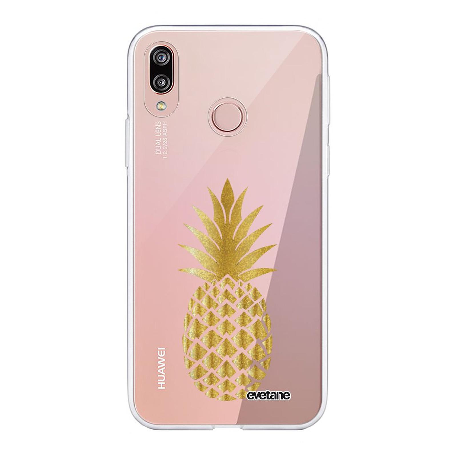 EVETANE Coque Huawei P20 Lite souple transparente Ananas Or - Coque téléphone Evetane sur LDLC