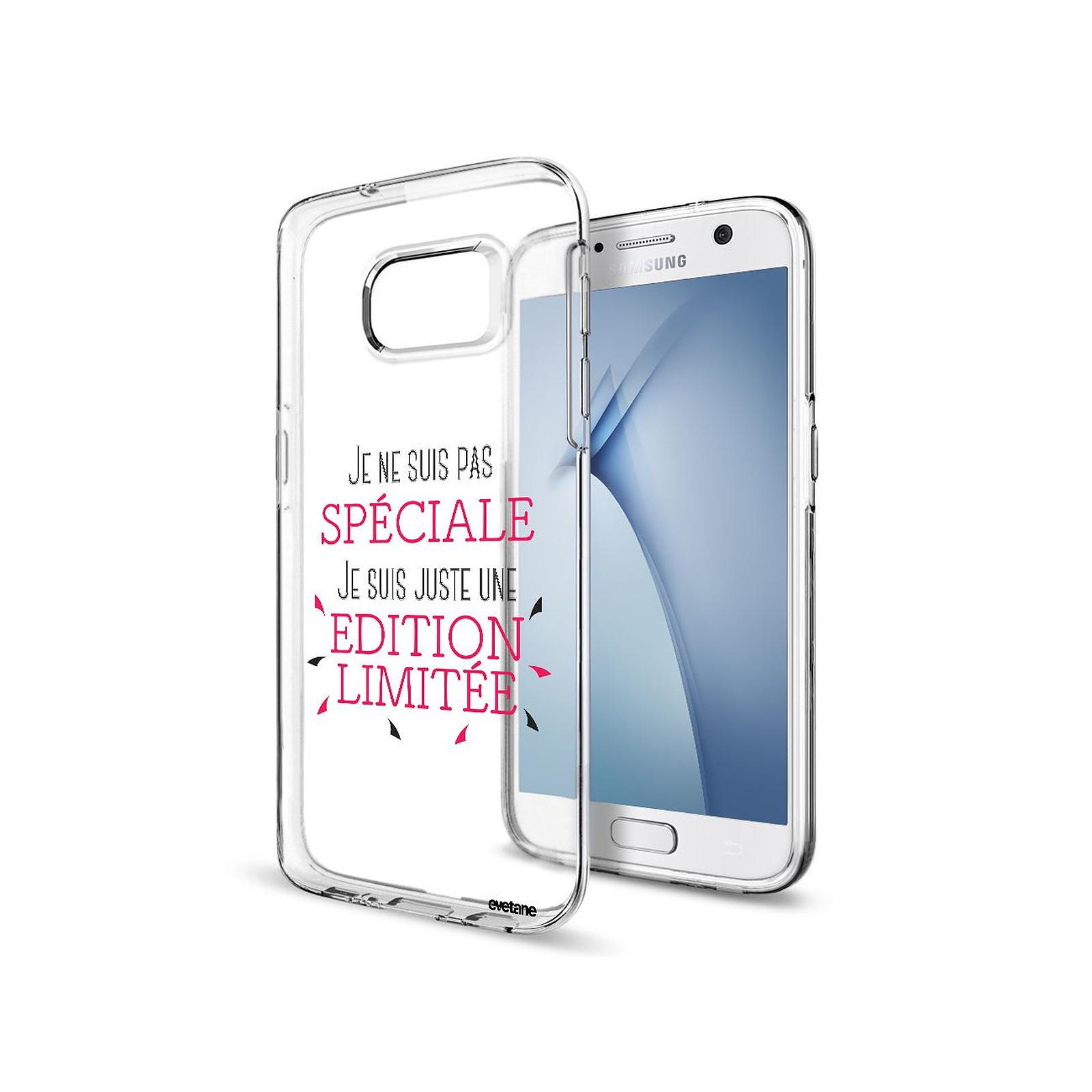 EVETANE Coque Samsung Galaxy S7 Edge souple transparente Spéciale édition limitée