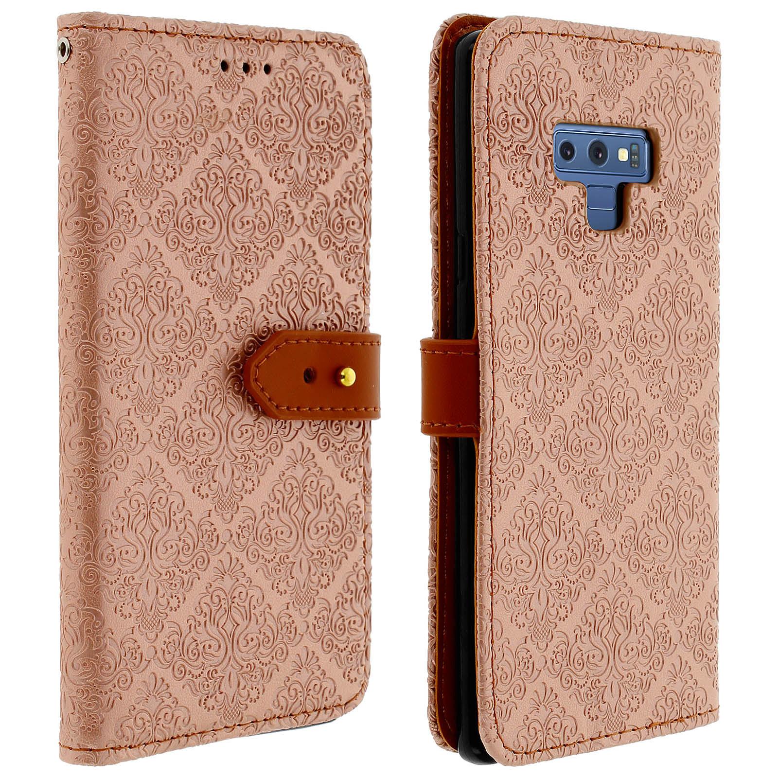 Avizar Etui folio Rose Champagne Éco-cuir pour Samsung Galaxy Note 9