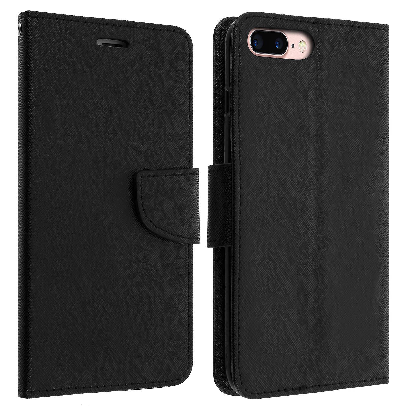 Avizar Etui folio Noir pour Apple iPhone 7 Plus , Apple iPhone 8 Plus
