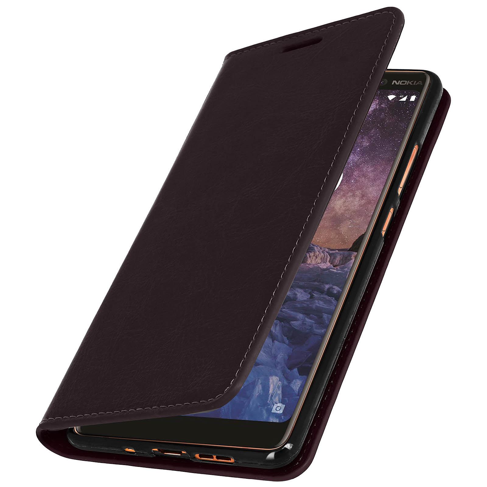 Avizar Etui folio Marron pour Nokia 7 plus