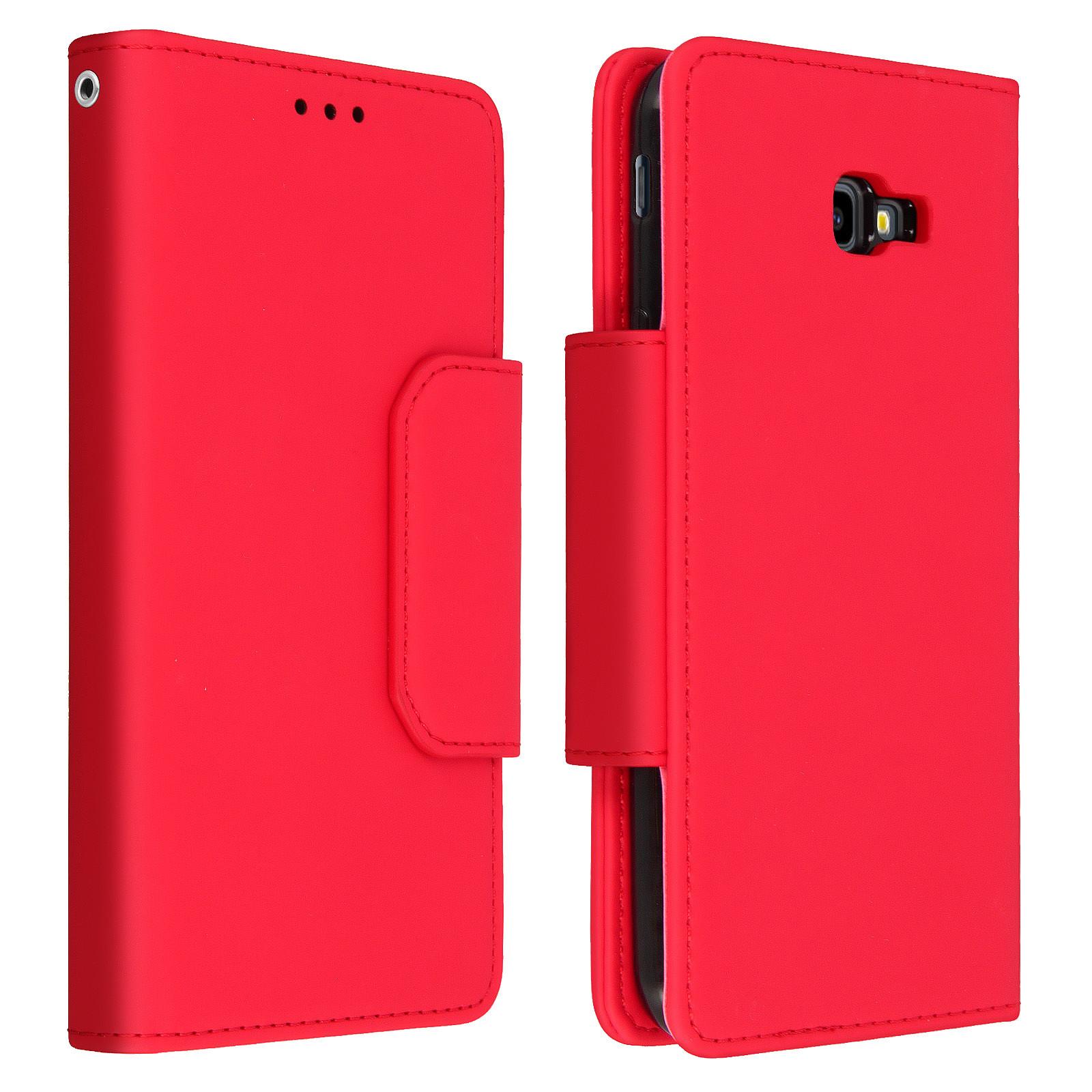 Avizar Etui folio Rouge Porte-Carte pour Samsung Galaxy J4 Plus