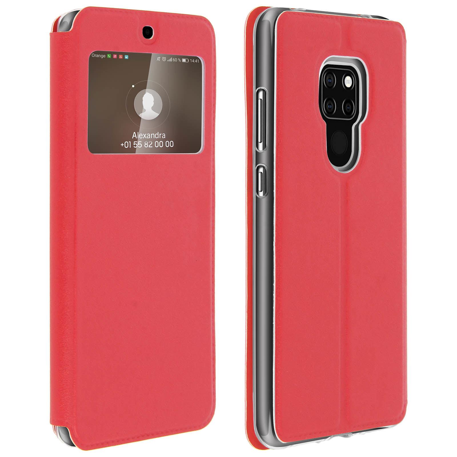 Avizar Etui folio Rouge Éco-cuir pour Huawei Mate 20