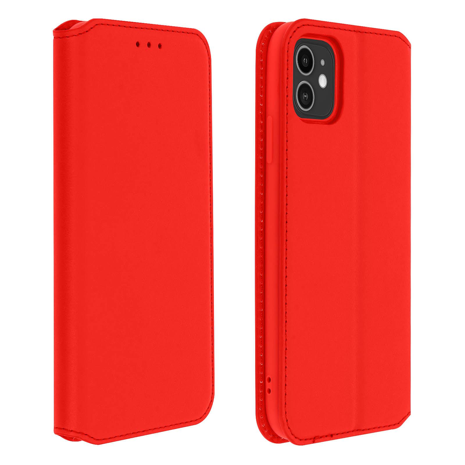 Avizar Etui folio Rouge Éco-cuir pour Apple iPhone 11