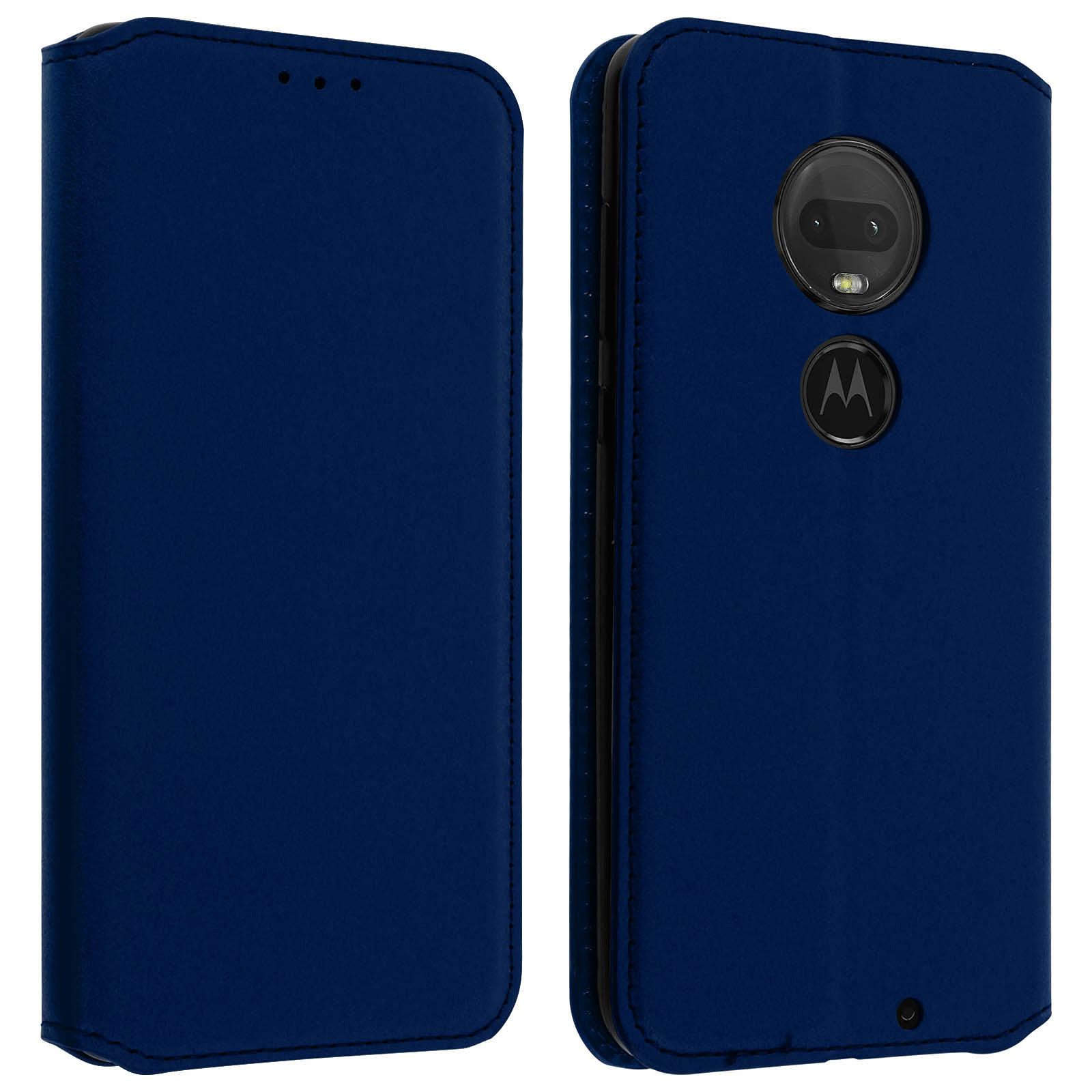 Avizar Etui folio Bleu Nuit pour Motorola Moto G7 , Motorola Moto G7 Plus