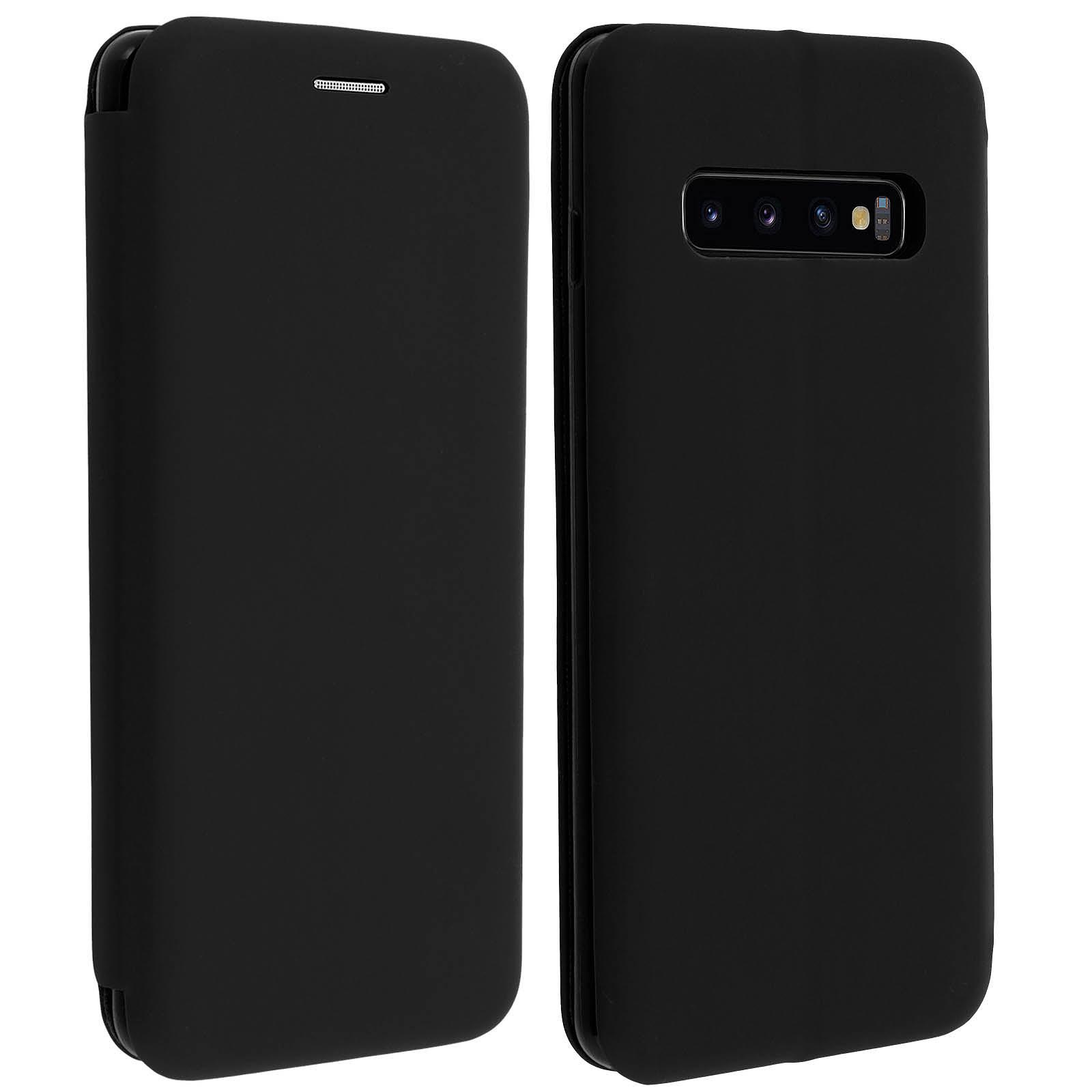 Avizar Etui folio Noir Stand Vidéo pour Samsung Galaxy S10 Plus
