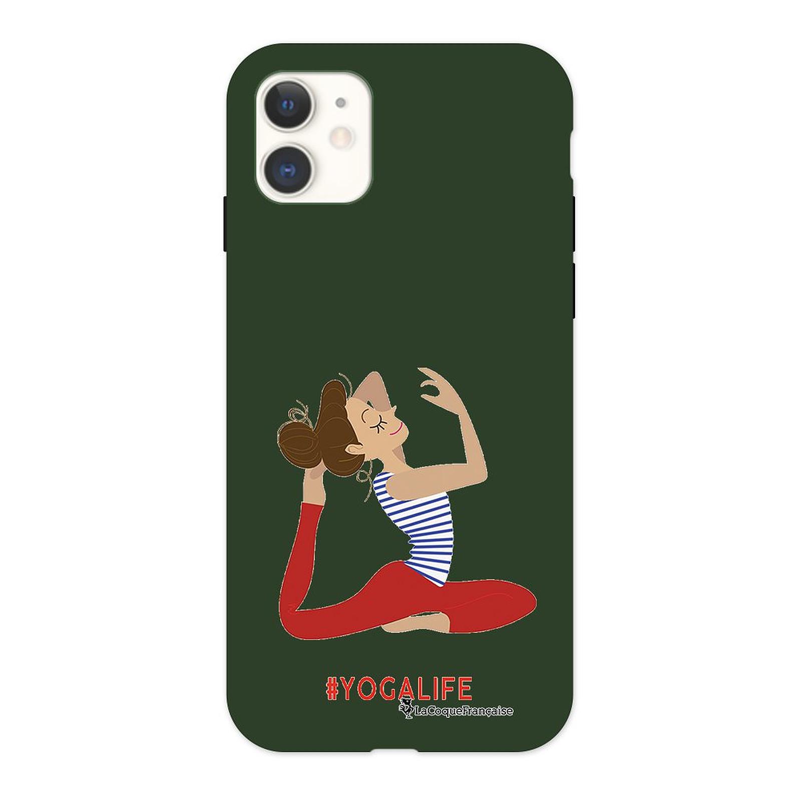 LA COQUE FRANCAISE Coque iPhone 11 Silicone Liquide Douce vert kaki Yoga Life