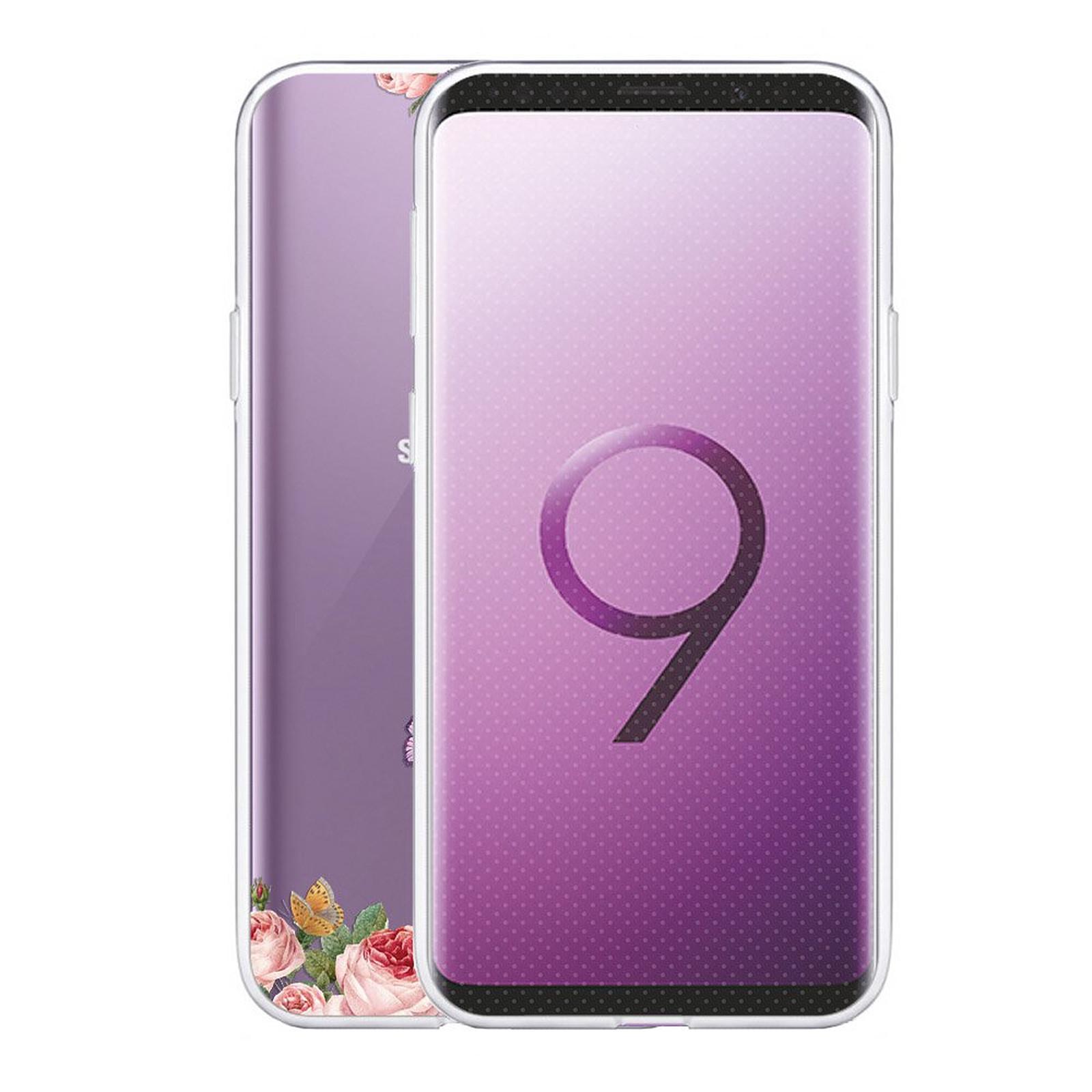 EVETANE Coque Samsung Galaxy S9 360 intégrale transparente Fée papillon fleurale Tendance