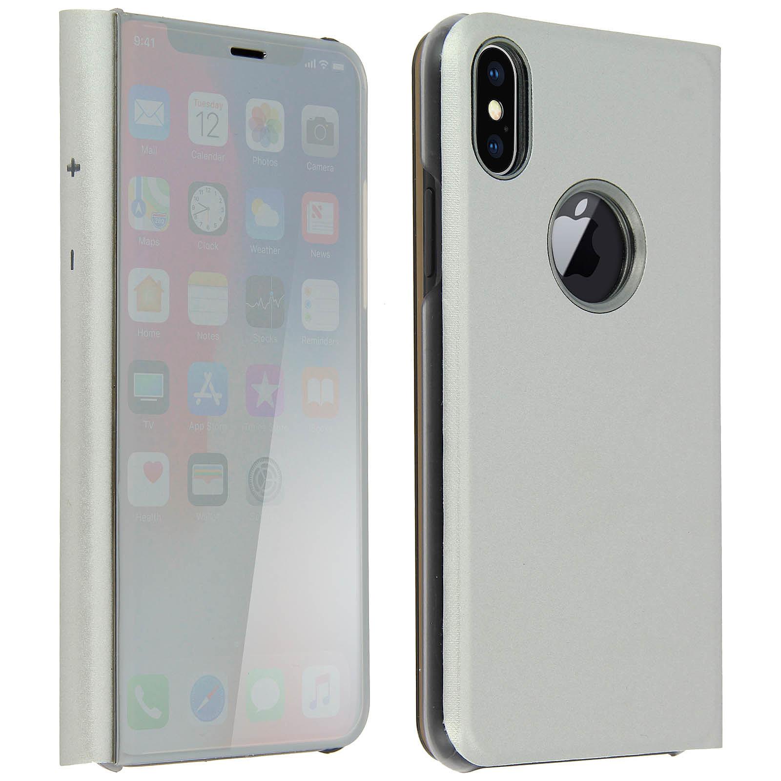 Avizar Etui folio Argent pour Apple iPhone X , Apple iPhone XS