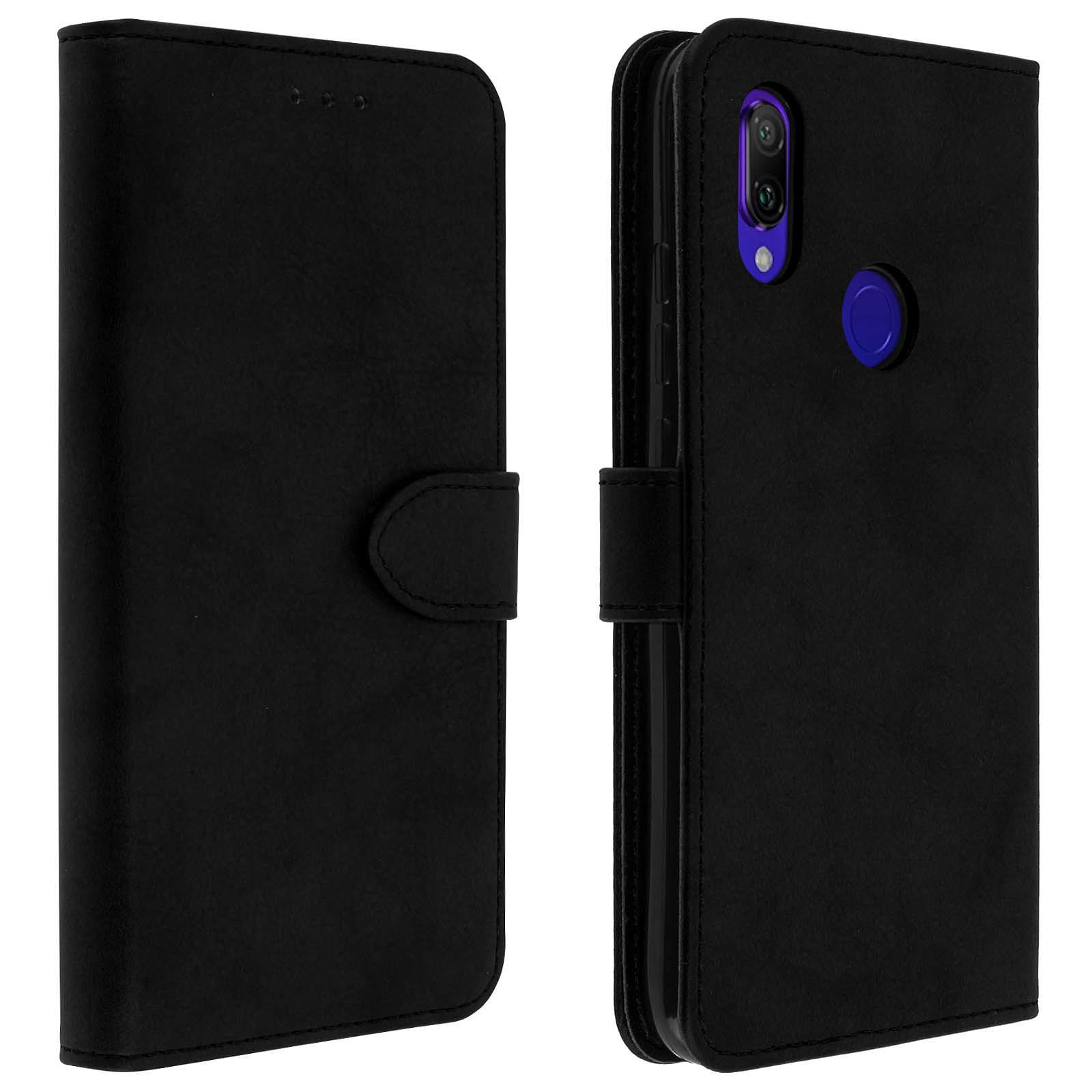 Avizar Etui folio Noir Portefeuille pour Xiaomi Redmi 7