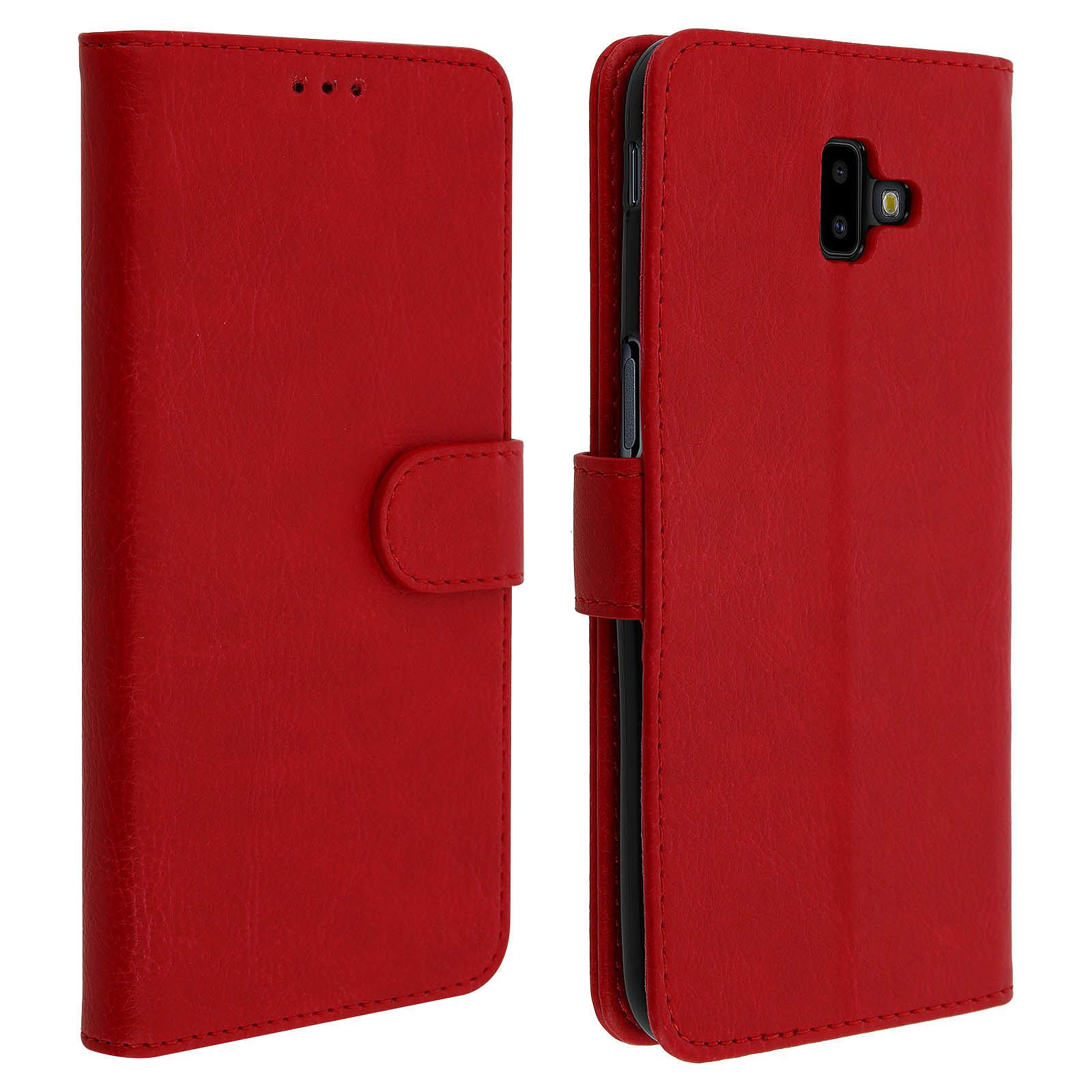 Avizar Etui folio Rouge Porte-Carte pour Samsung Galaxy J6 Plus