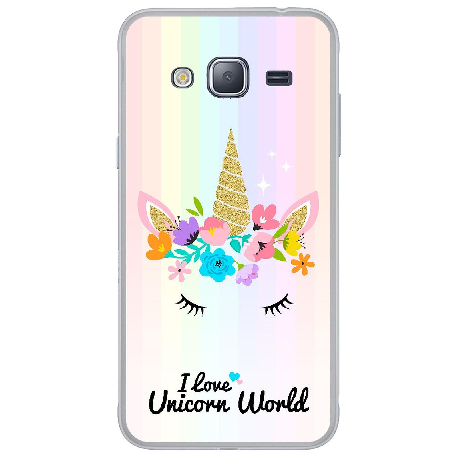1001 Coques Coque silicone gel Samsung Galaxy J3 2016 motif Unicorn World