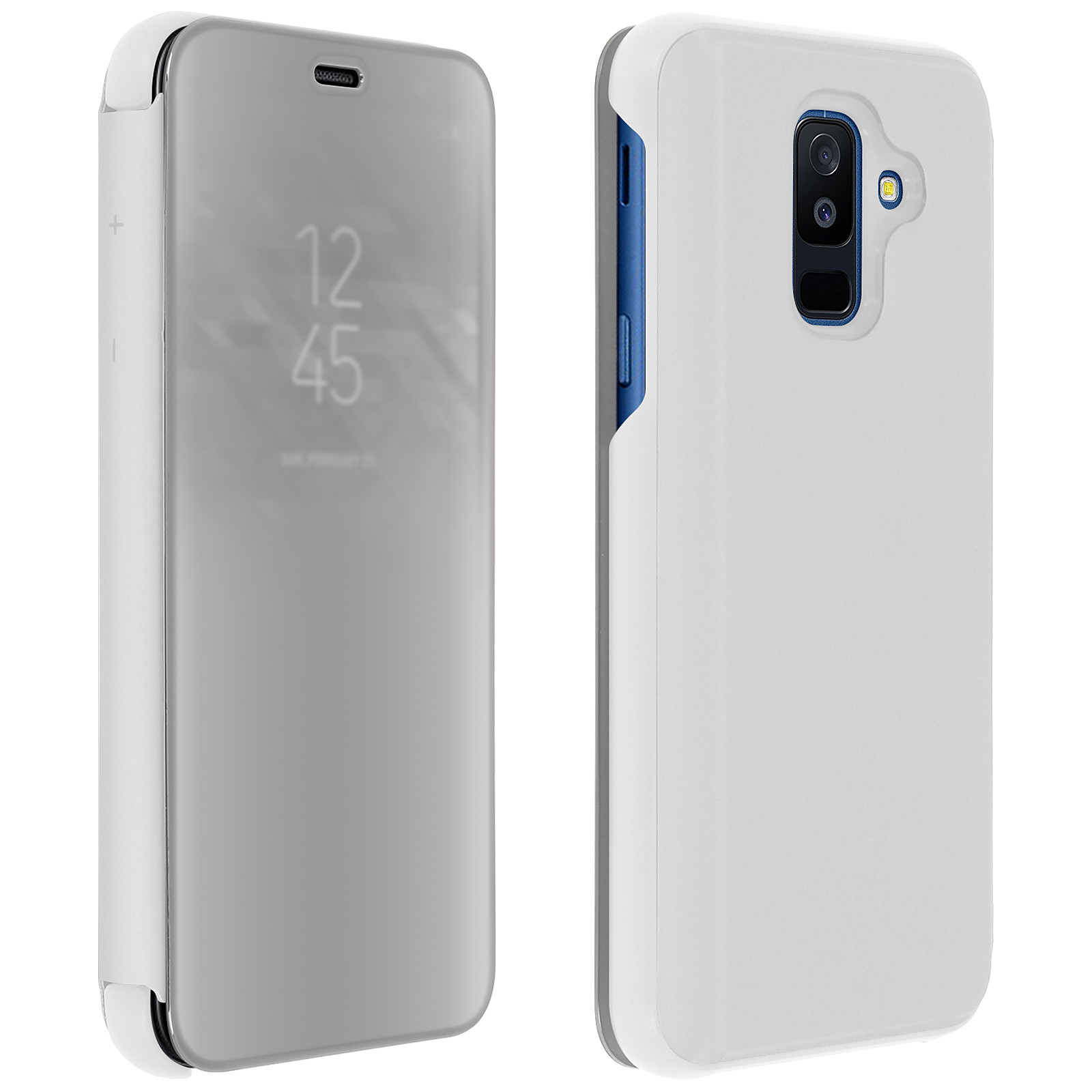 Avizar Etui folio Argent pour Samsung Galaxy A6 Plus