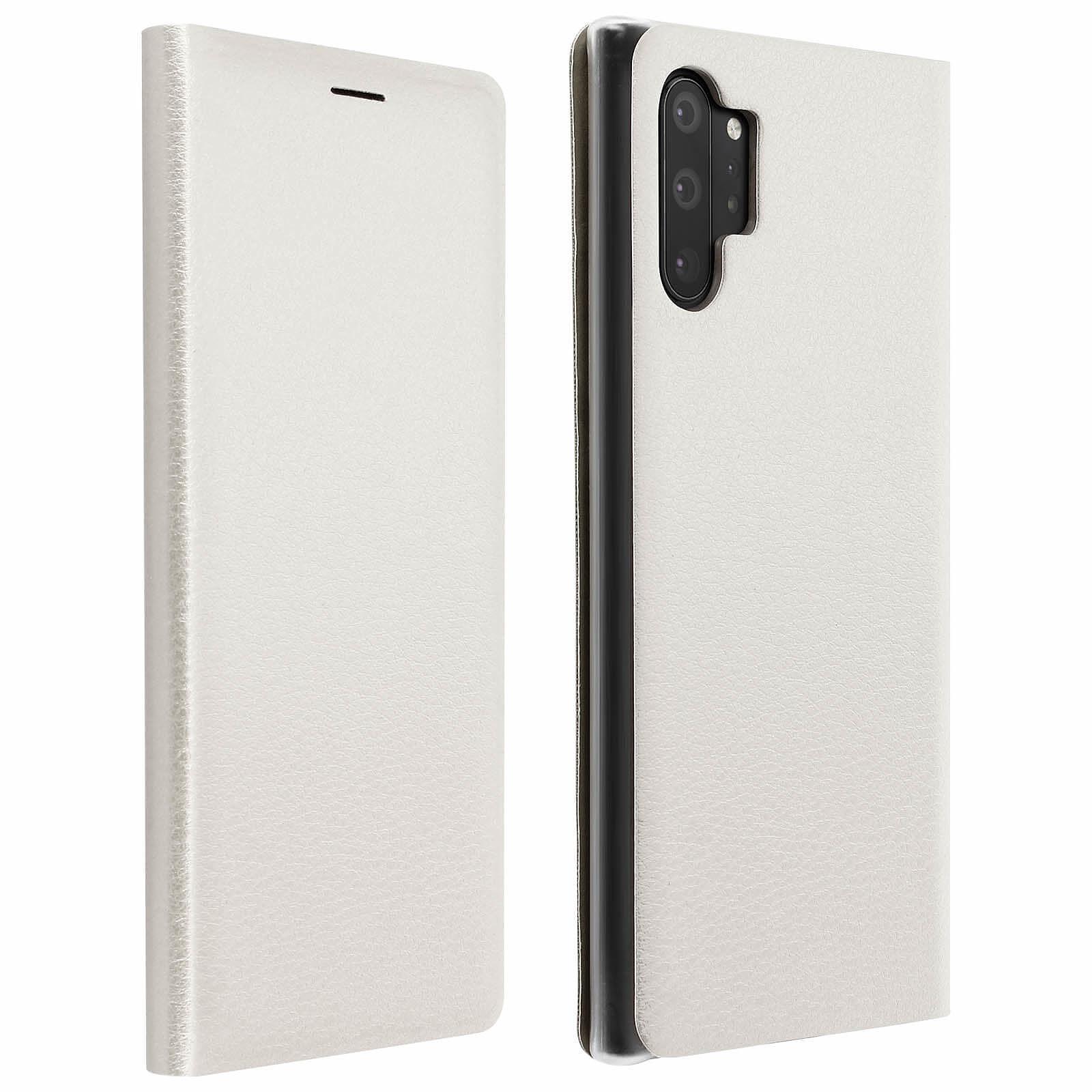 Avizar Etui folio Blanc Porte-Carte pour Samsung Galaxy Note 10 Plus