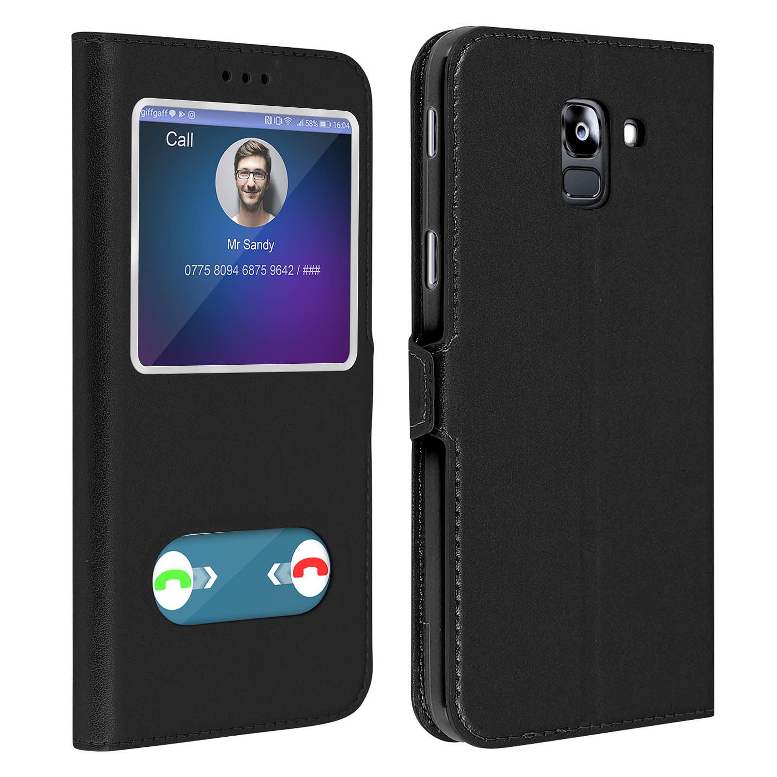 Avizar Etui folio Noir à fenêtre pour Samsung Galaxy J6