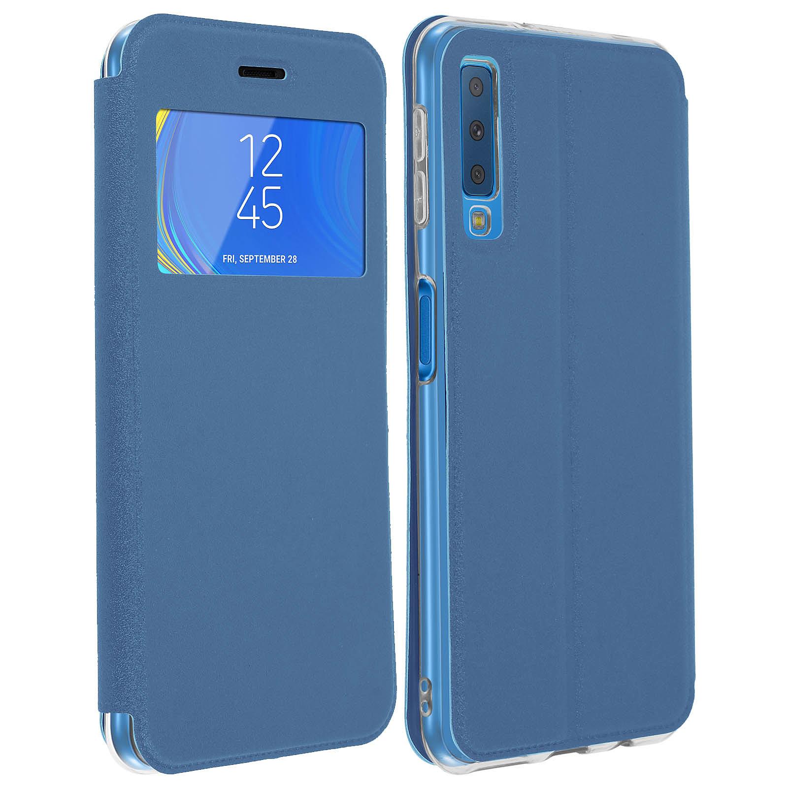 Avizar Etui folio Bleu Éco-cuir pour Samsung Galaxy A7 2018