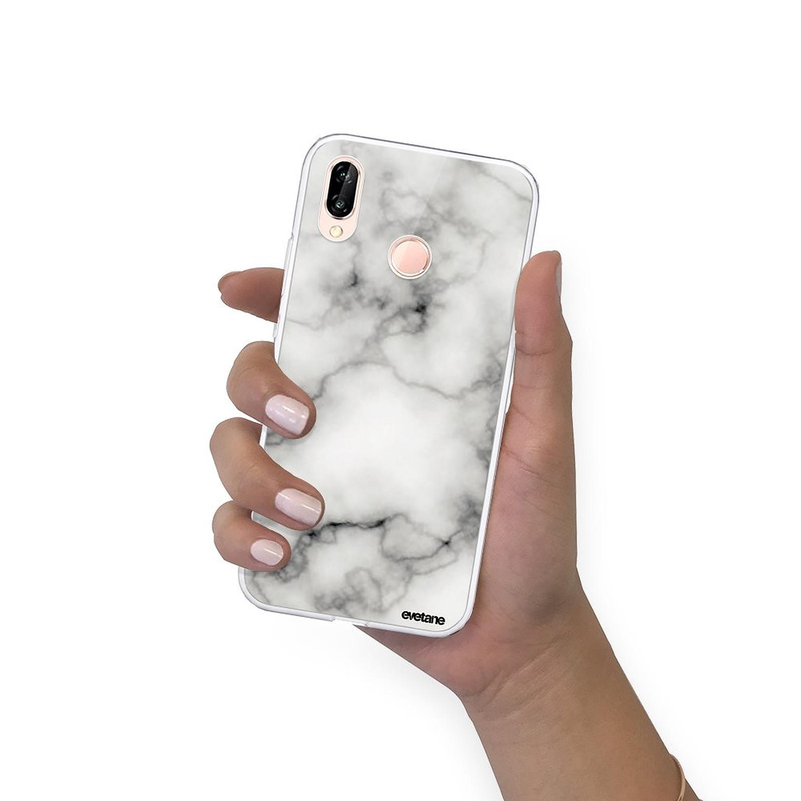 EVETANE Coque Huawei P20 Lite souple transparente Marbre blanc