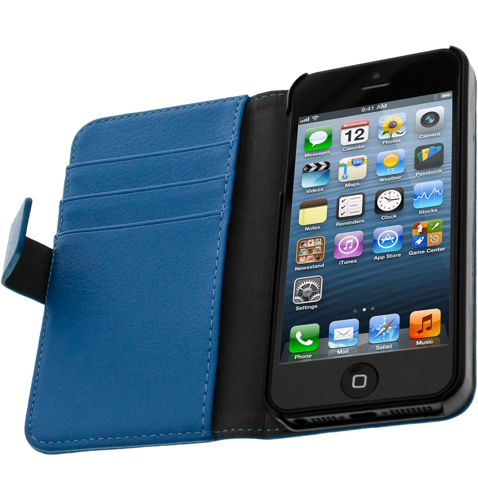 Avizar Etui folio Bleu pour Apple iPhone 5 , Apple iPhone 5S , Apple iPhone SE