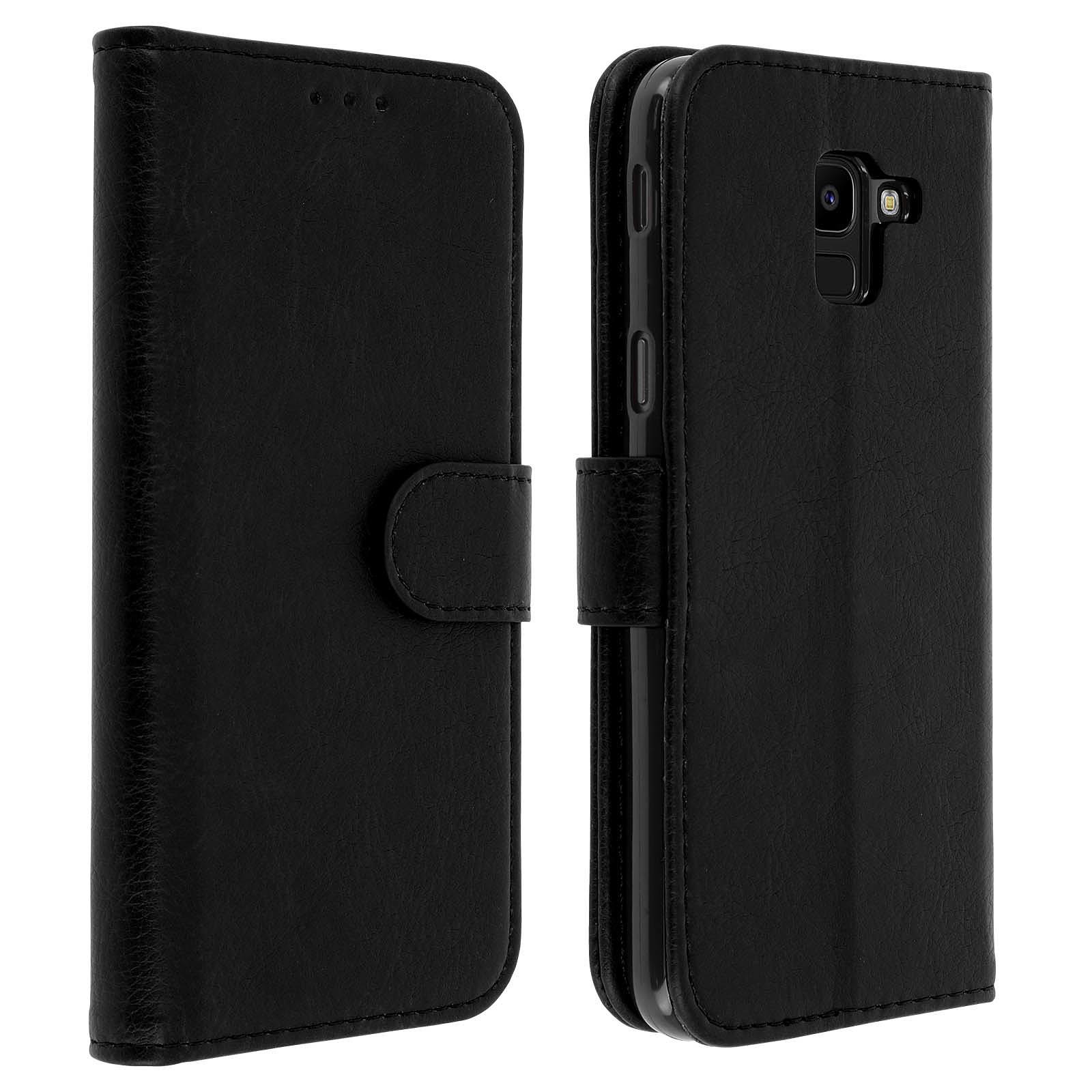 Avizar Etui folio Noir Portefeuille pour Samsung Galaxy J6